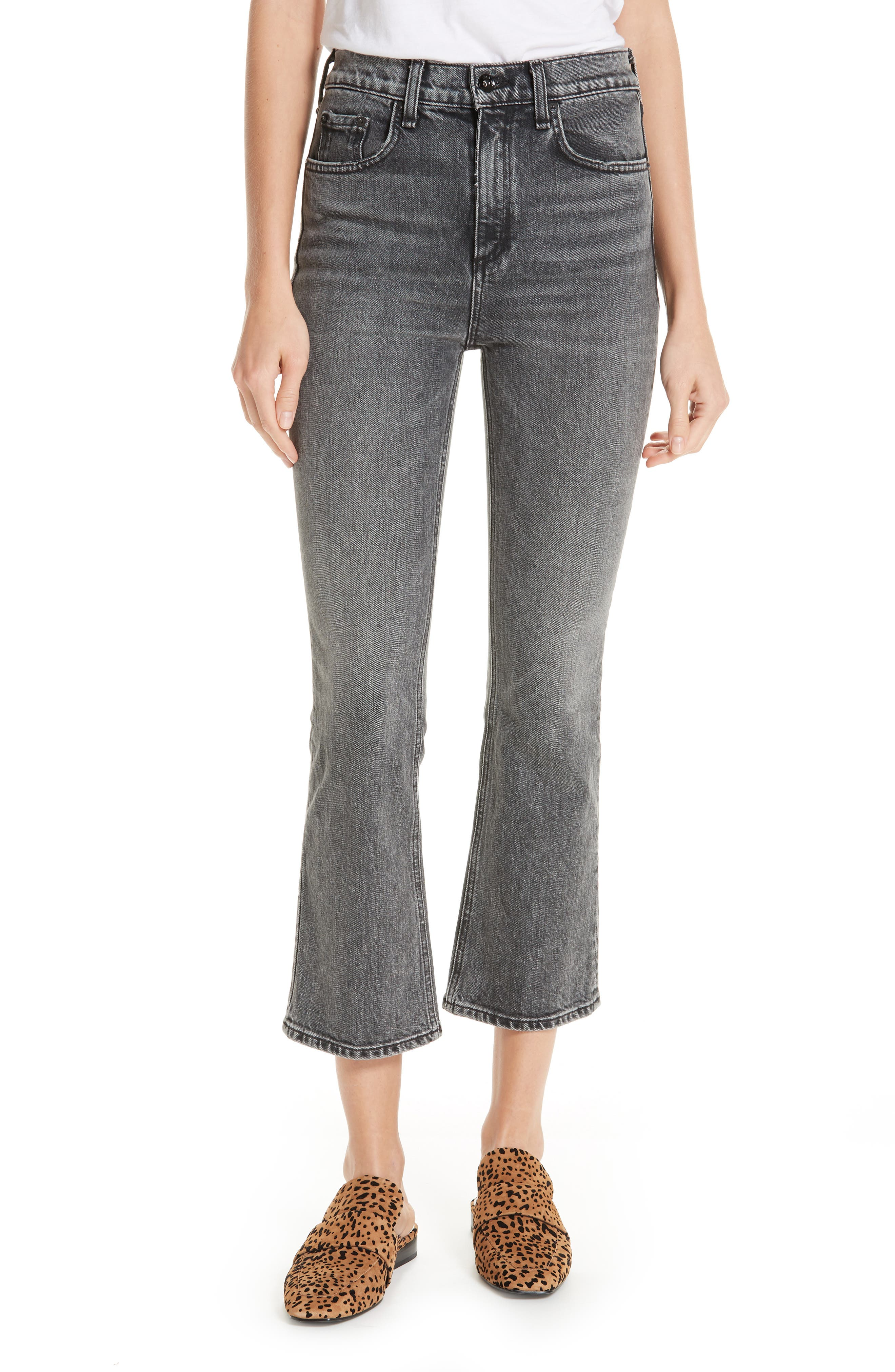 Hana Crop Kick Flare Jeans,                         Main,                         color, 010