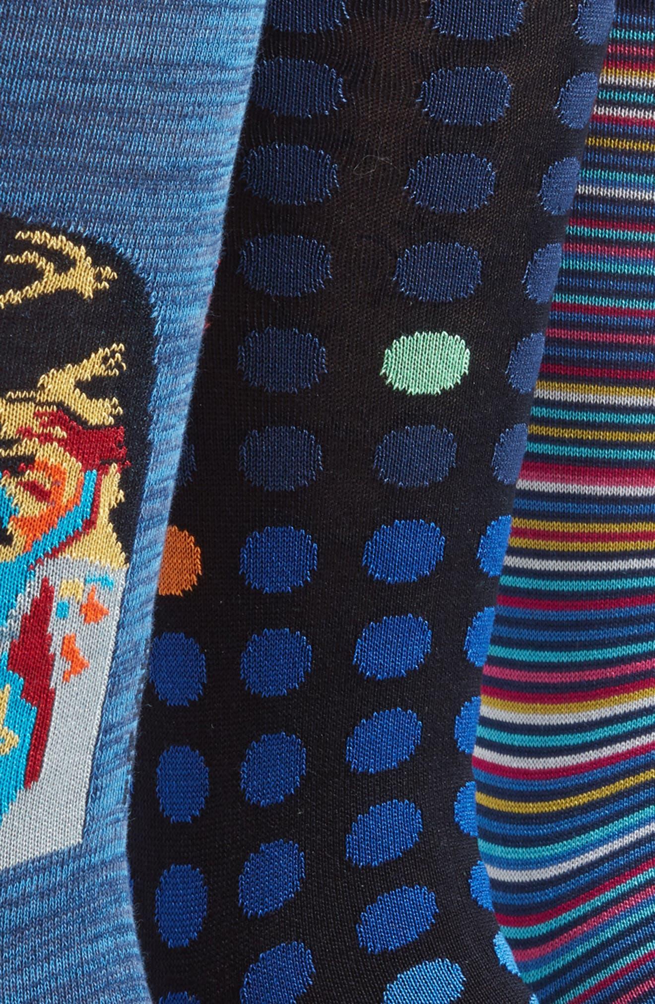 Assorted 3-Pack Mercerized Cotton Blend Sock Gift Set,                             Alternate thumbnail 3, color,