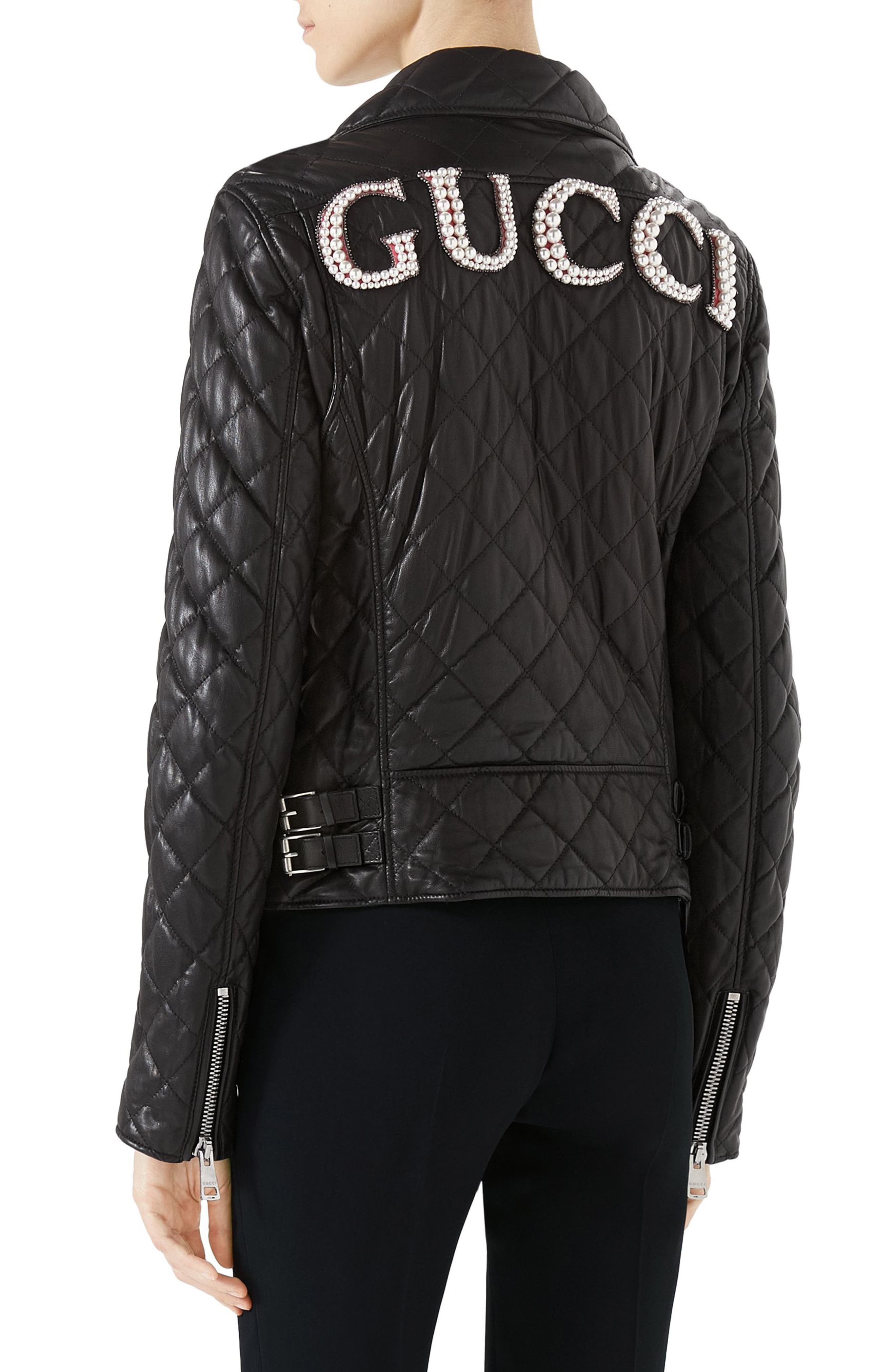 Logo Quilted Leather Biker Jacket,                             Alternate thumbnail 2, color,                             BLACK