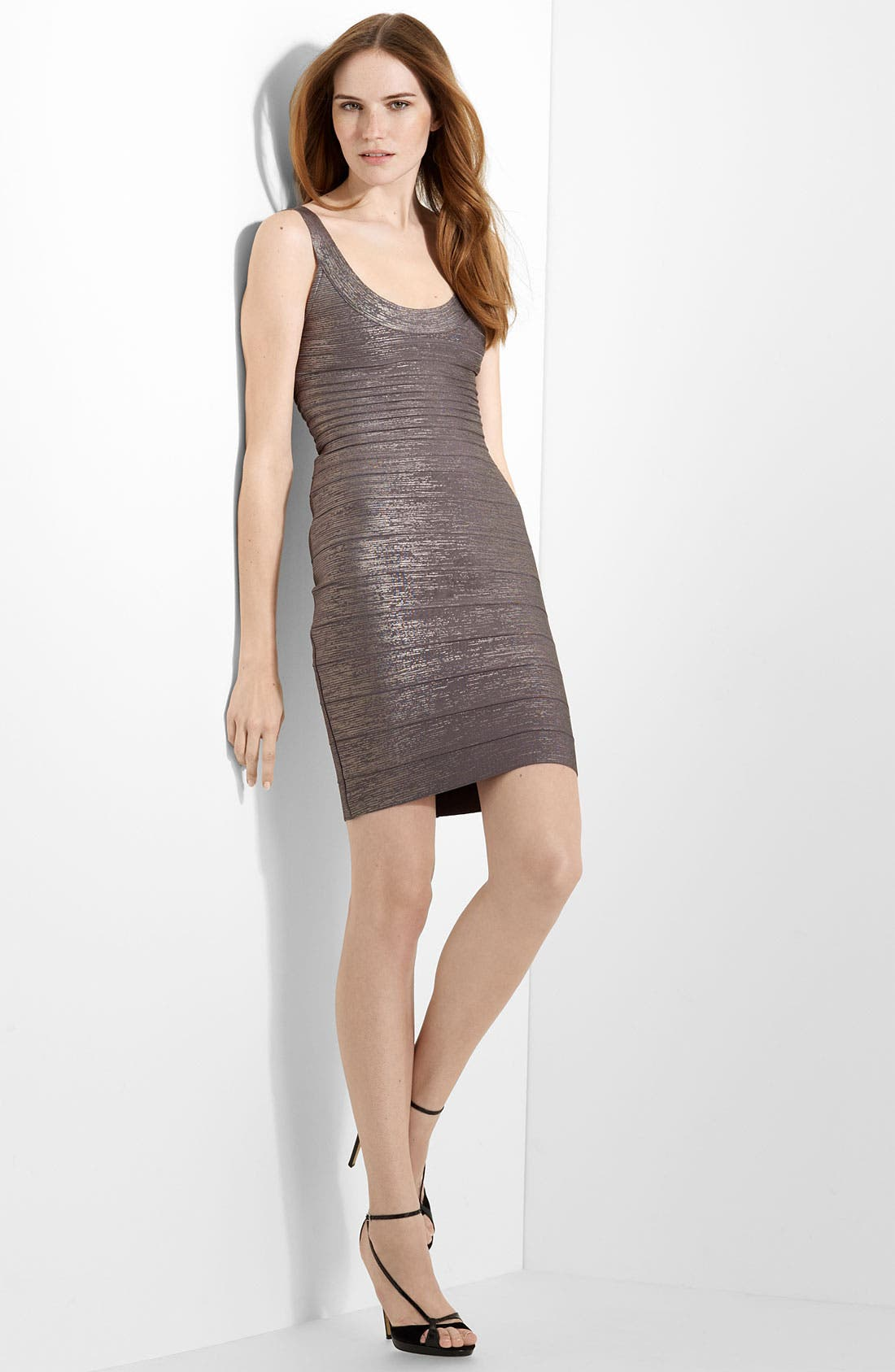 U-Neck Foil Bandage Dress,                             Main thumbnail 1, color,                             098