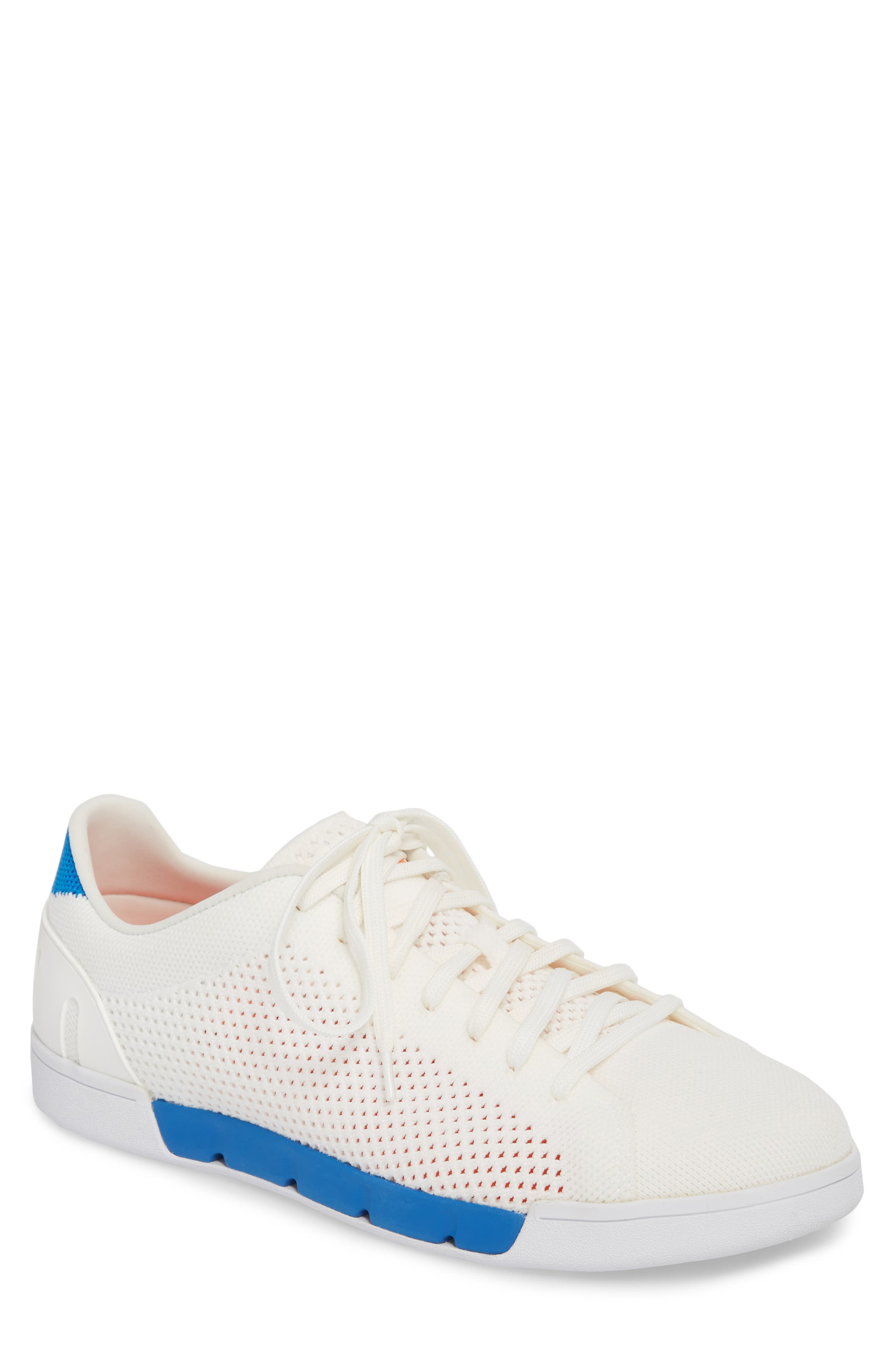 SWIMS Breeze Tennis Washable Knit Sneaker in White/ Blitz Blue Fabric