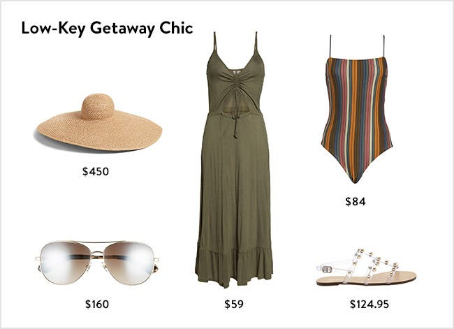 Low-key getaway chic: women's vacation clothing, accessories, shoes and more.