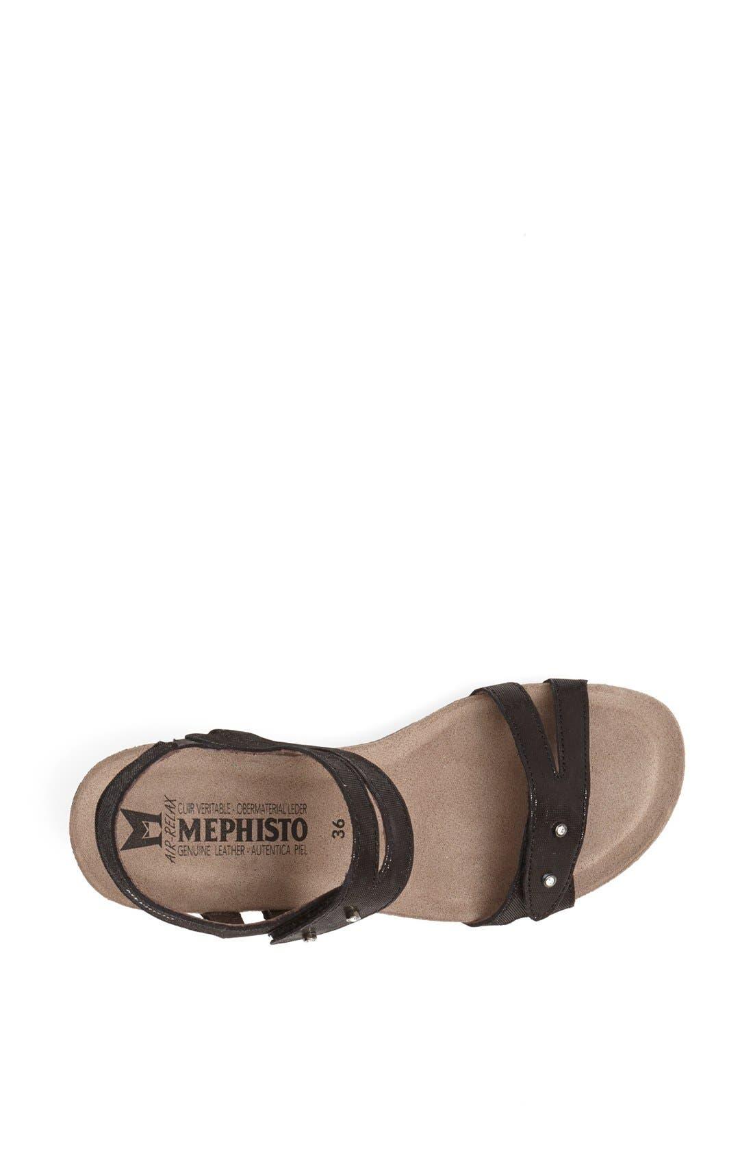 'Minoa' Wedge Sandal,                             Alternate thumbnail 4, color,                             BLACK