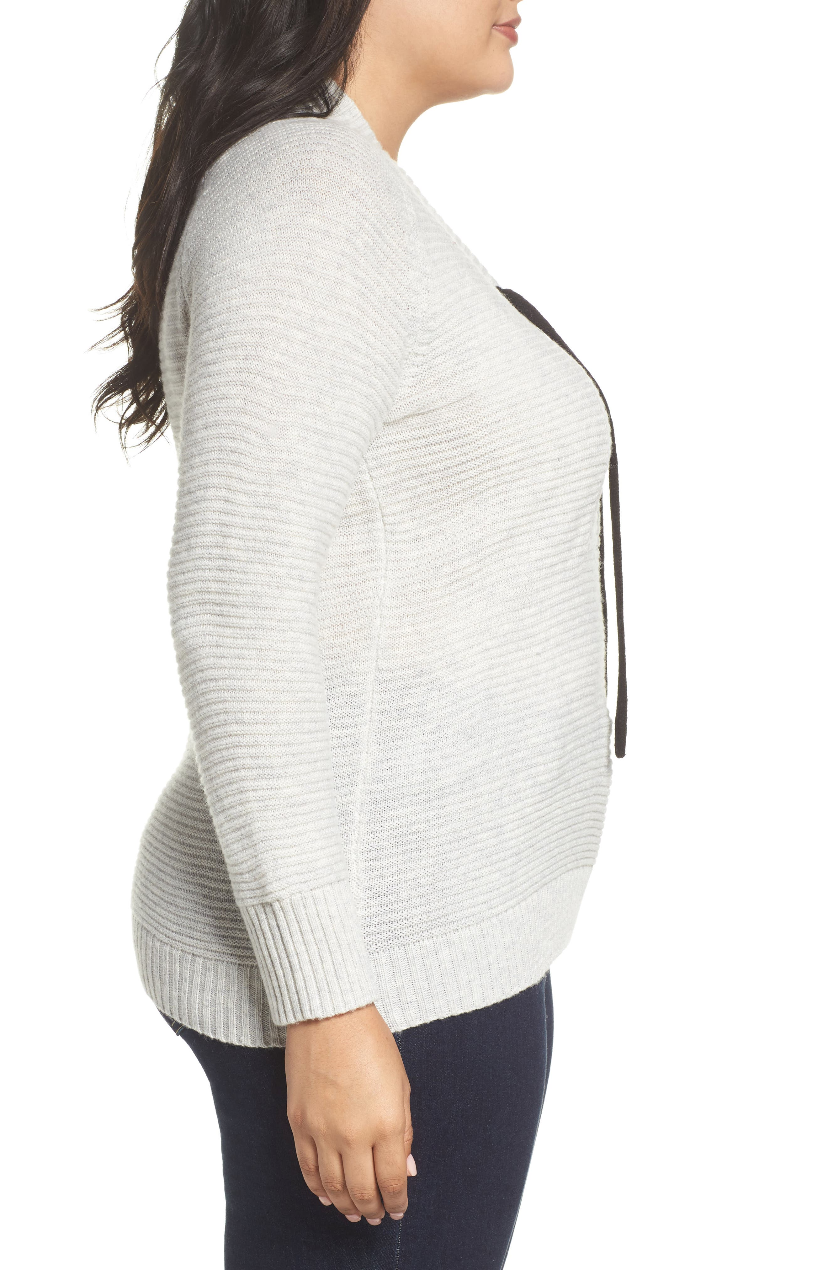 Lace-Up Sweater,                             Alternate thumbnail 3, color,                             030