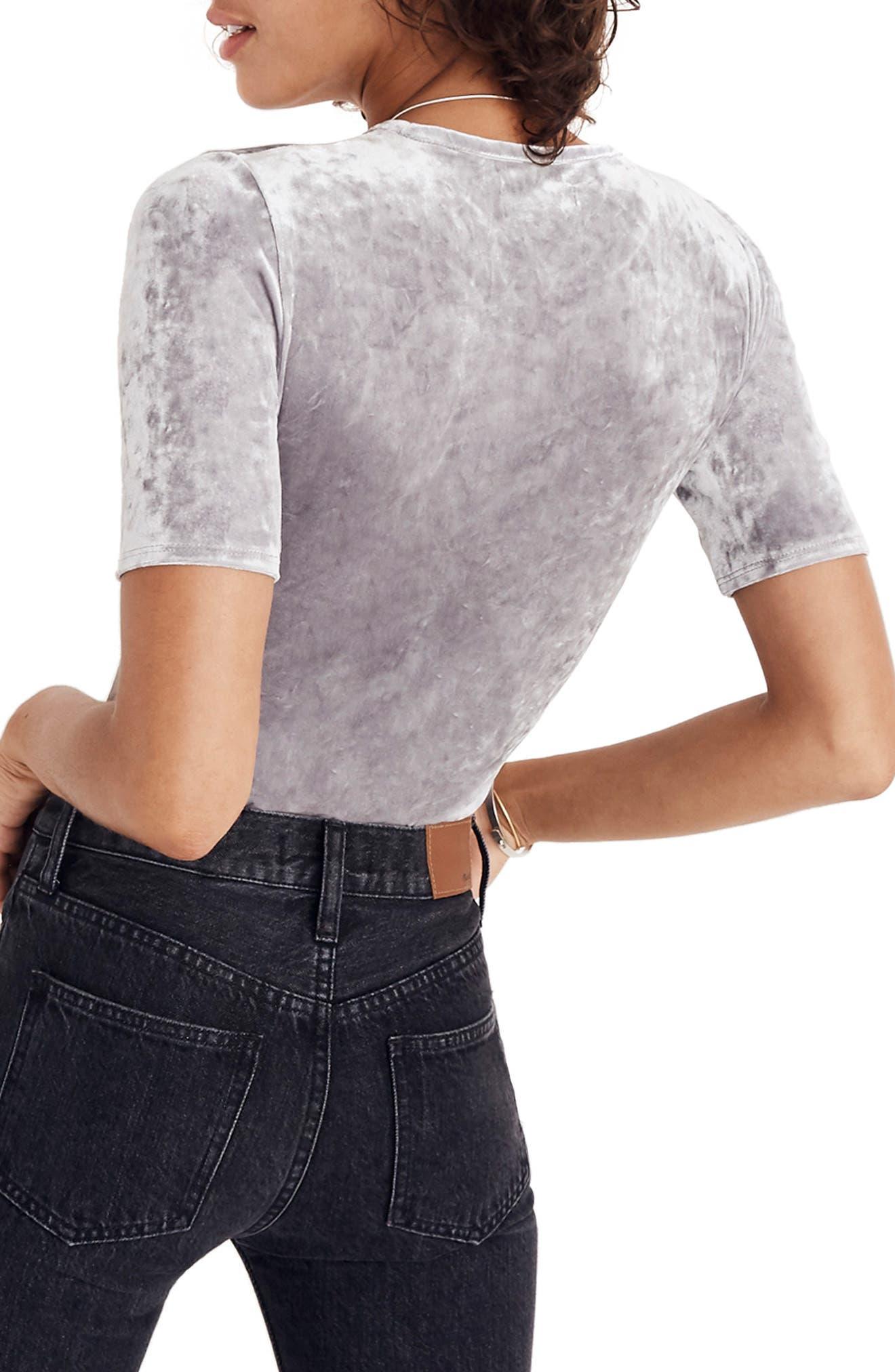 Crushed Velvet Short Sleeve Bodysuit,                             Alternate thumbnail 3, color,                             STONEWALL