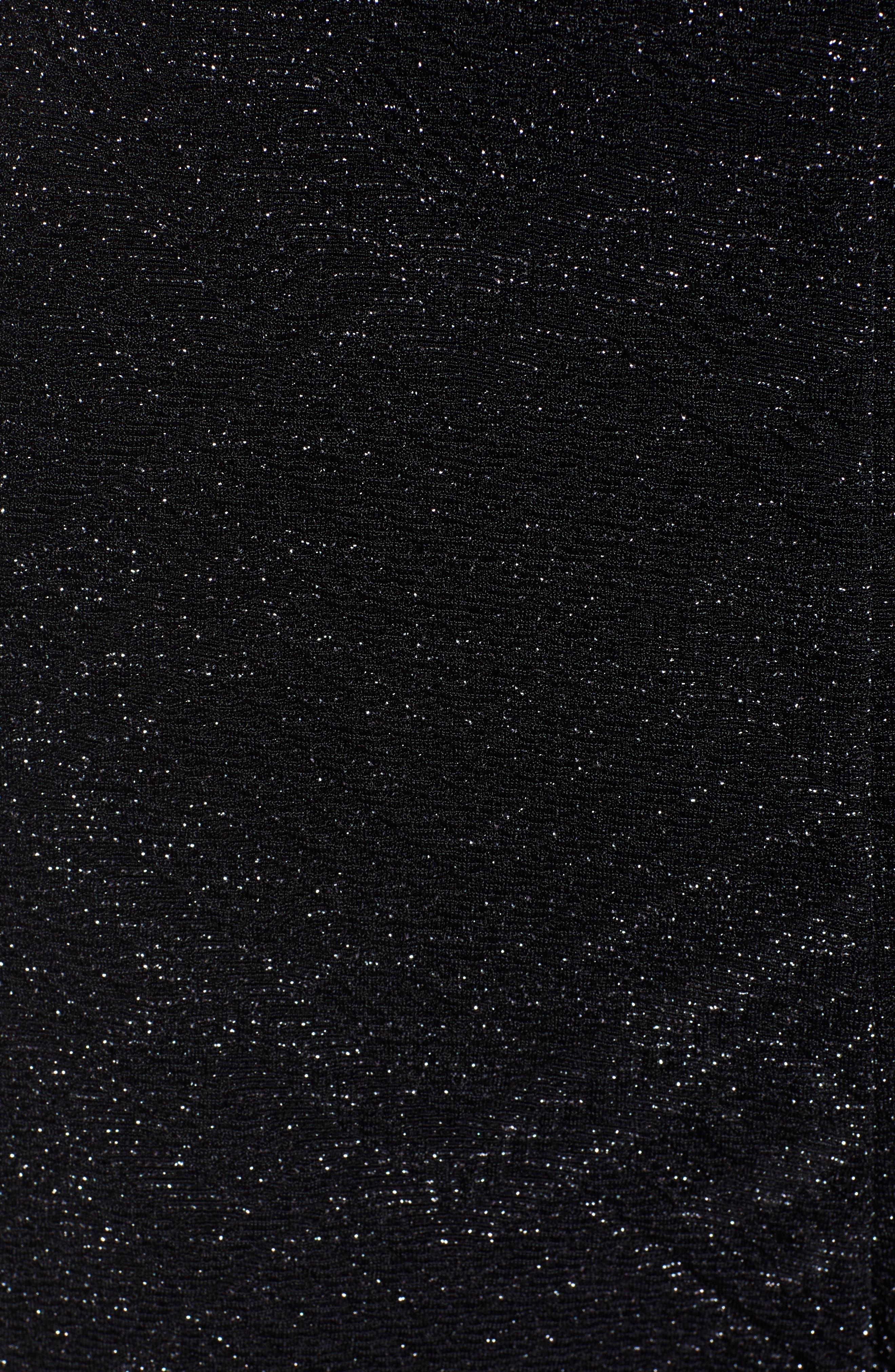 Metallic Wrap Jumpsuit,                             Alternate thumbnail 6, color,                             BLACK