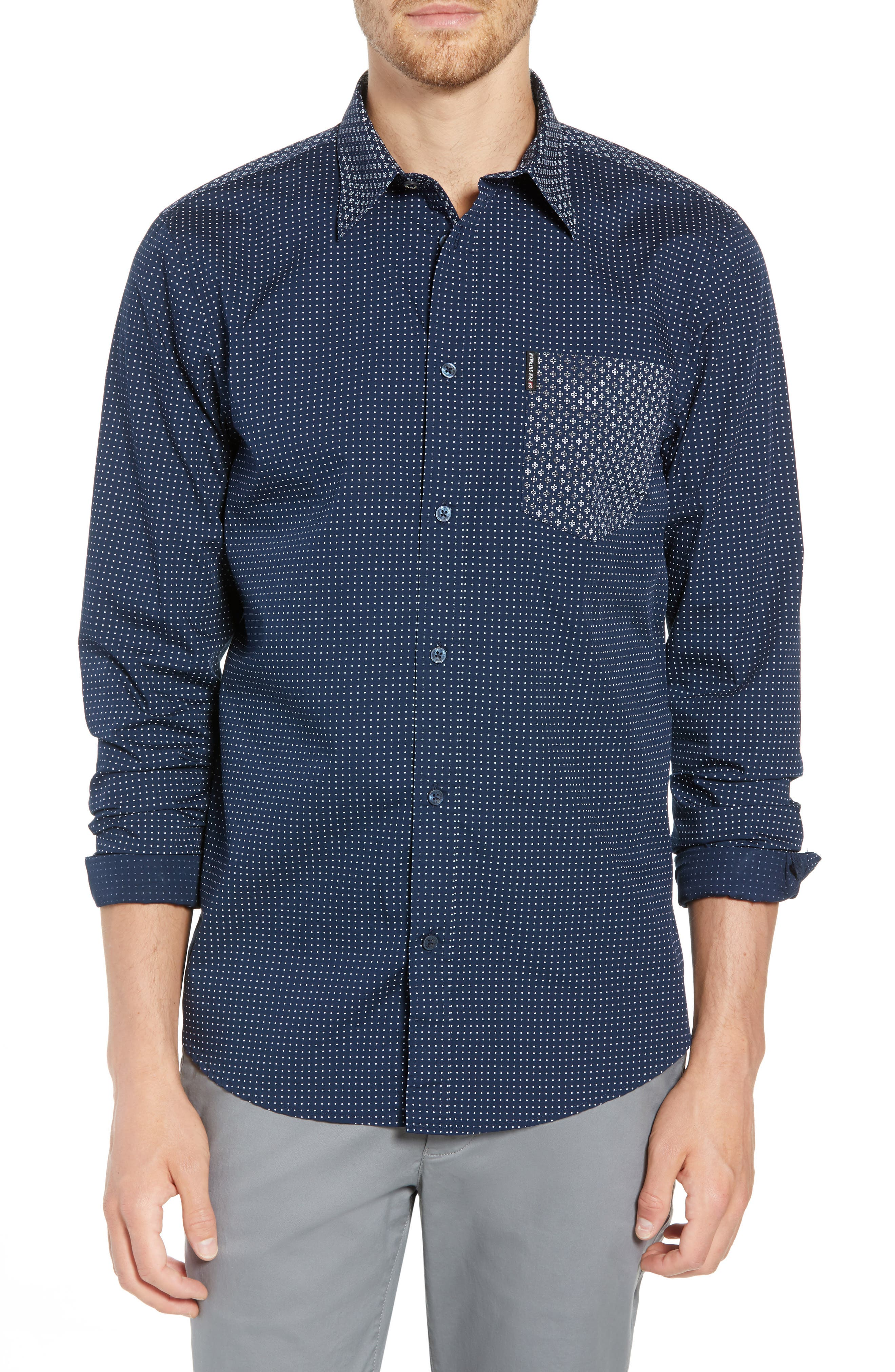 Trim Fit Block Print Sport Shirt,                         Main,                         color, 400