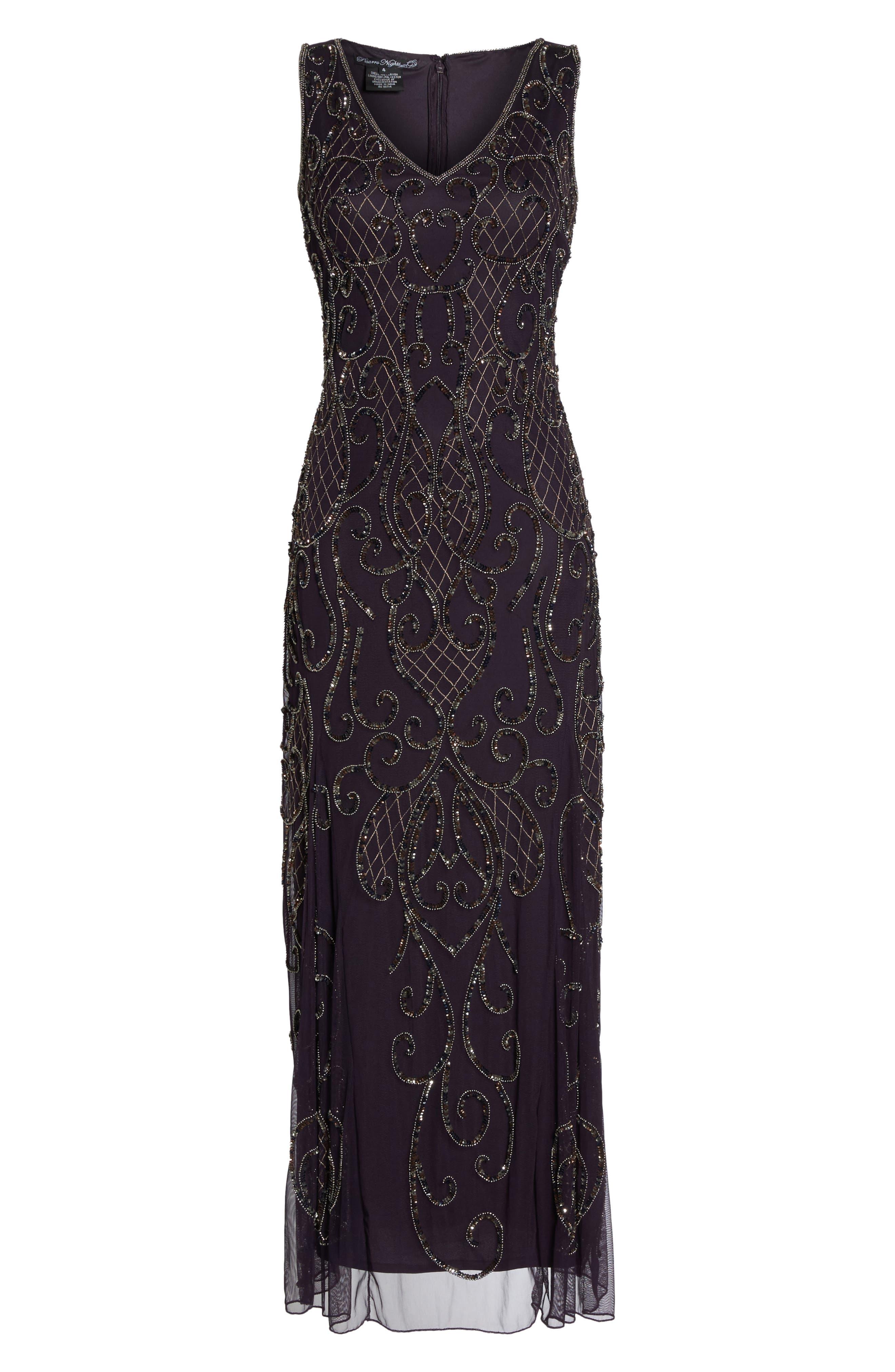 Embellished V-Neck Gown,                             Alternate thumbnail 6, color,                             502