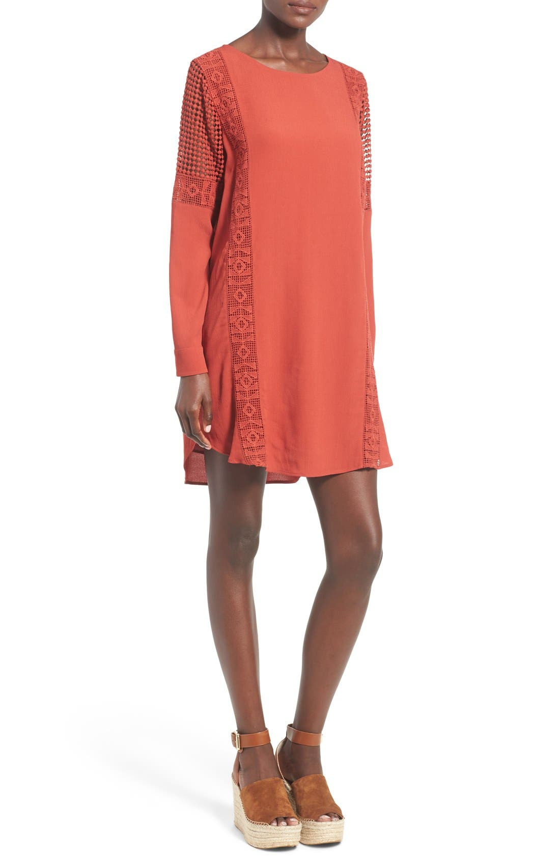 ASTR Crochet Inset Cotton Shift Dress,                             Main thumbnail 1, color,