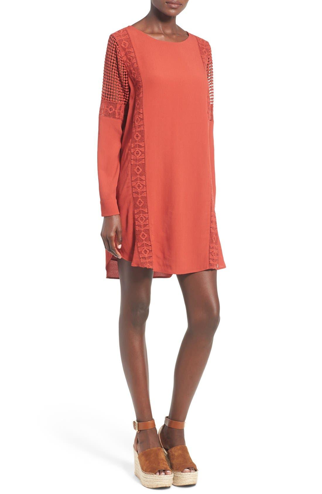 ASTR Crochet Inset Cotton Shift Dress,                         Main,                         color,