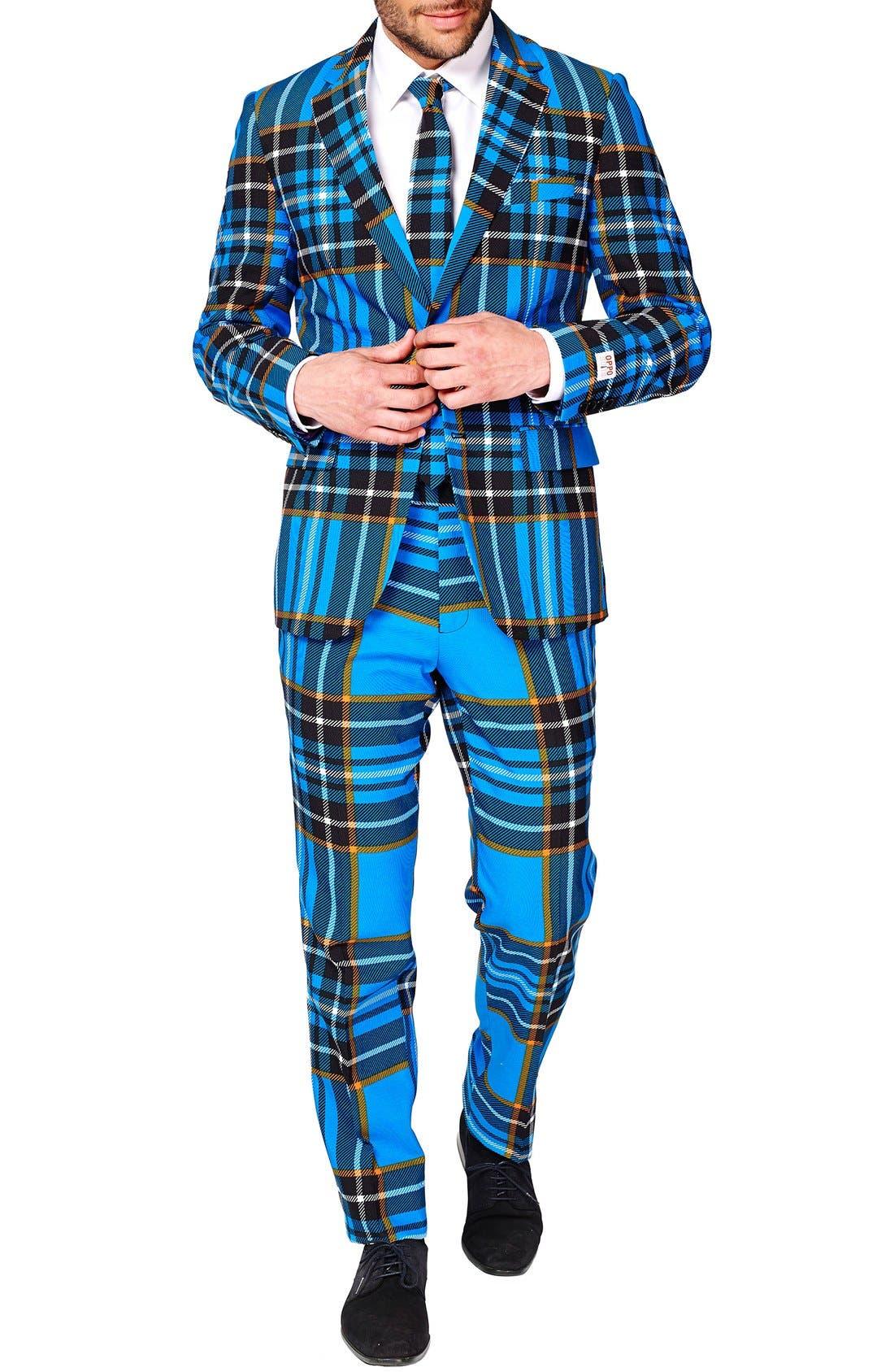 'Braveheart' Trim Fit Suit with Tie,                             Alternate thumbnail 4, color,                             421