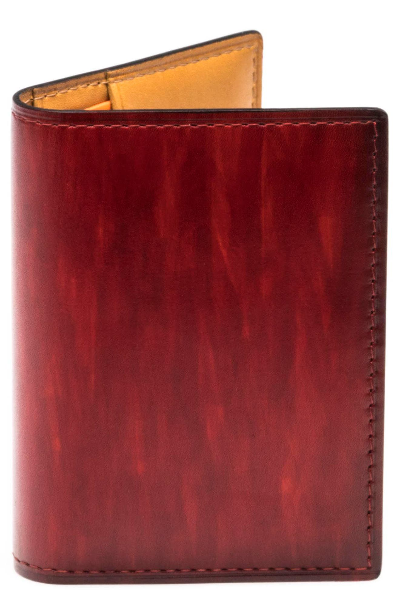 Leather Card Case,                         Main,                         color, RED
