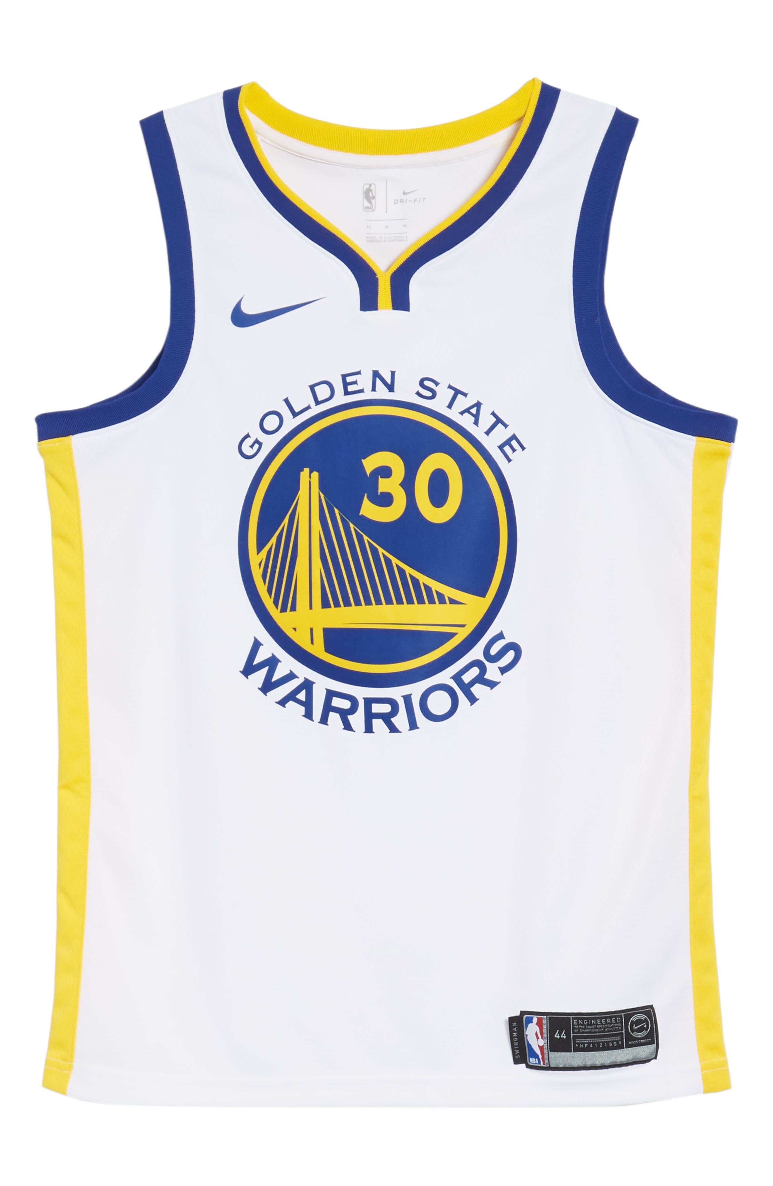 Golden State Warriors - Stephen Curry Association Edition Swingman Jersey,                             Alternate thumbnail 6, color,                             WHITE/ AMARILLO/ RUSH BLUE
