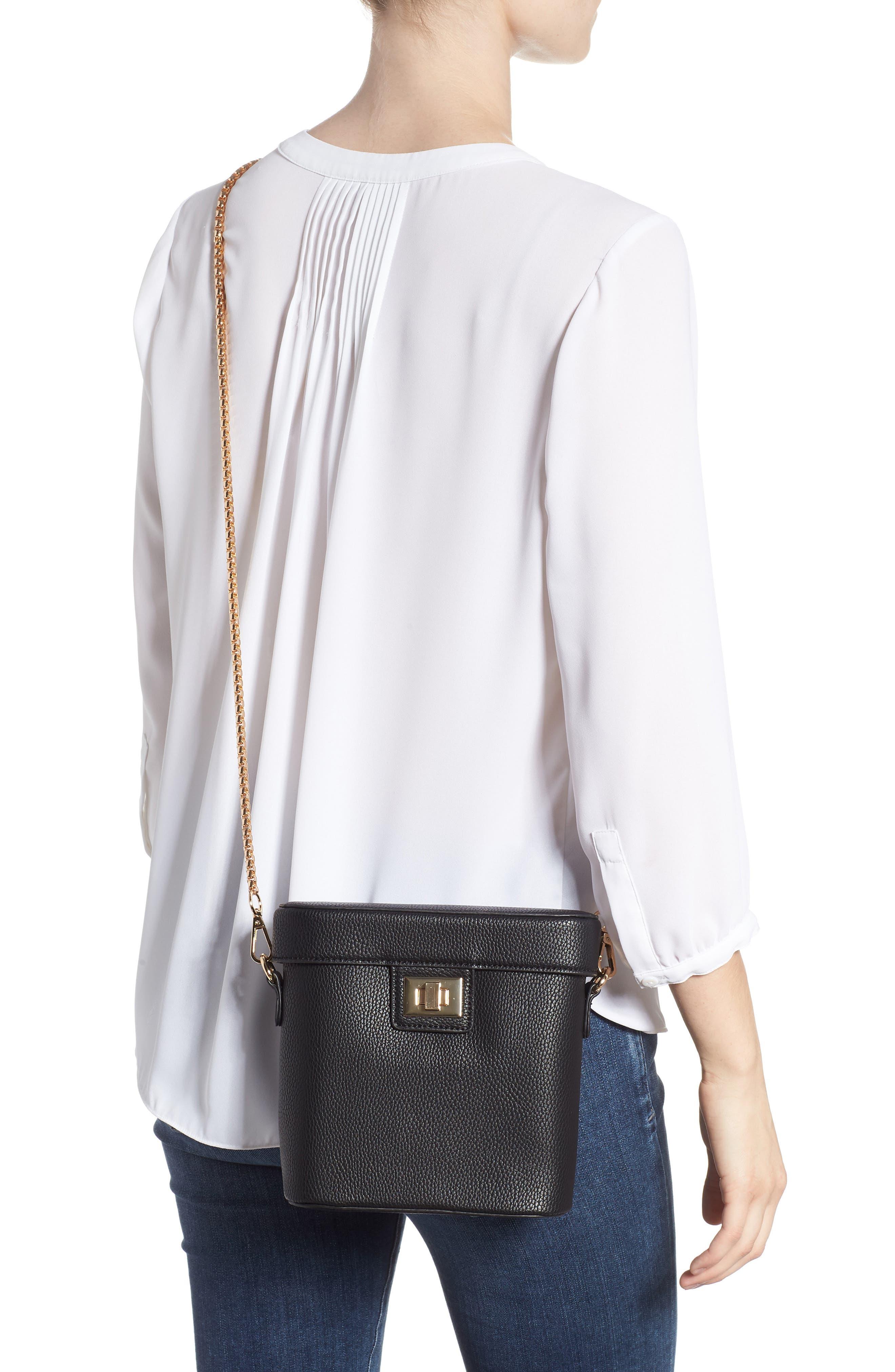 Lindsey Faux Leather Crossbody Bag,                             Alternate thumbnail 2, color,                             BLACK