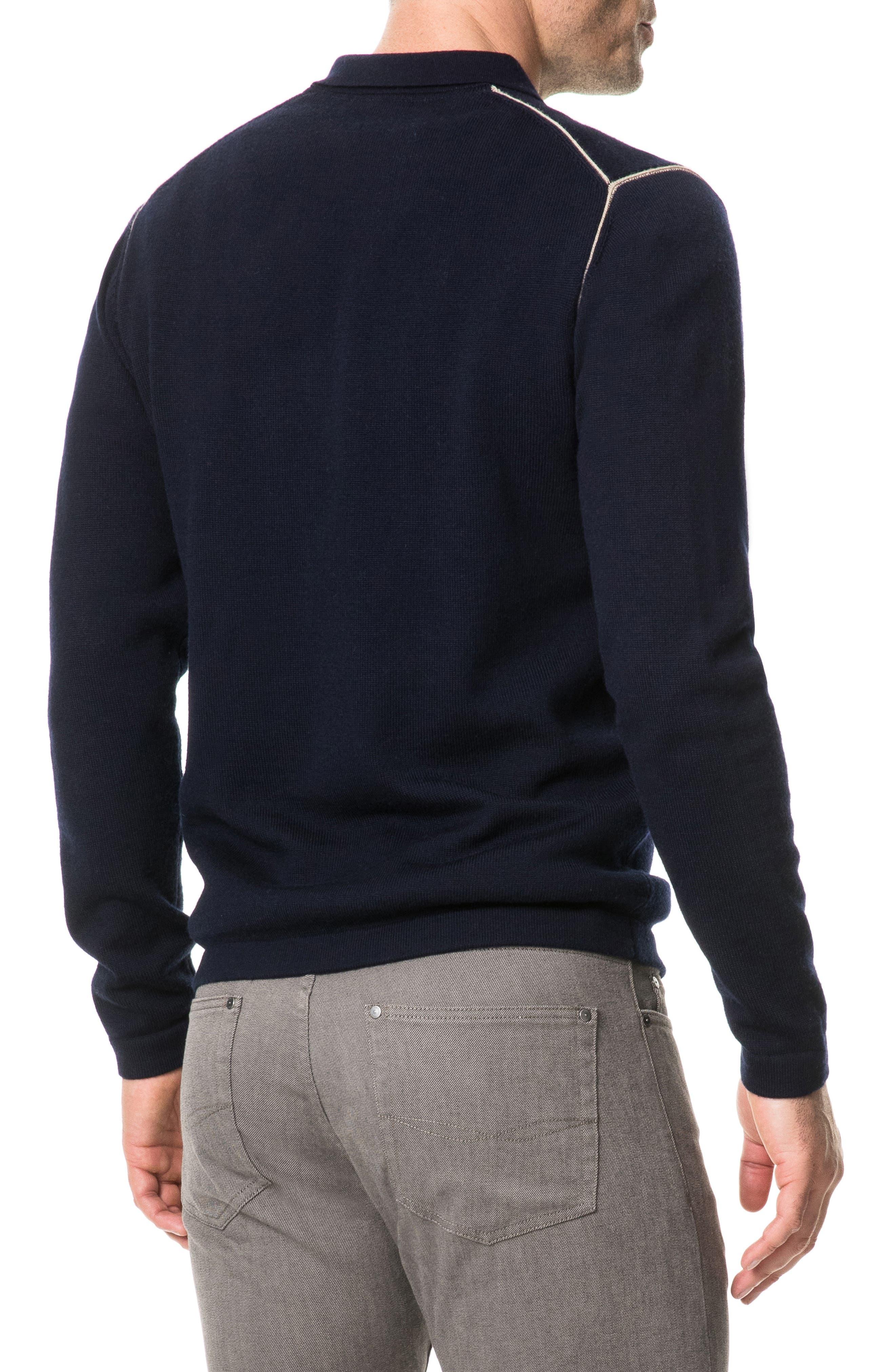 Revill Reserve Merino Wool Zip Polo,                             Alternate thumbnail 2, color,                             MARINE