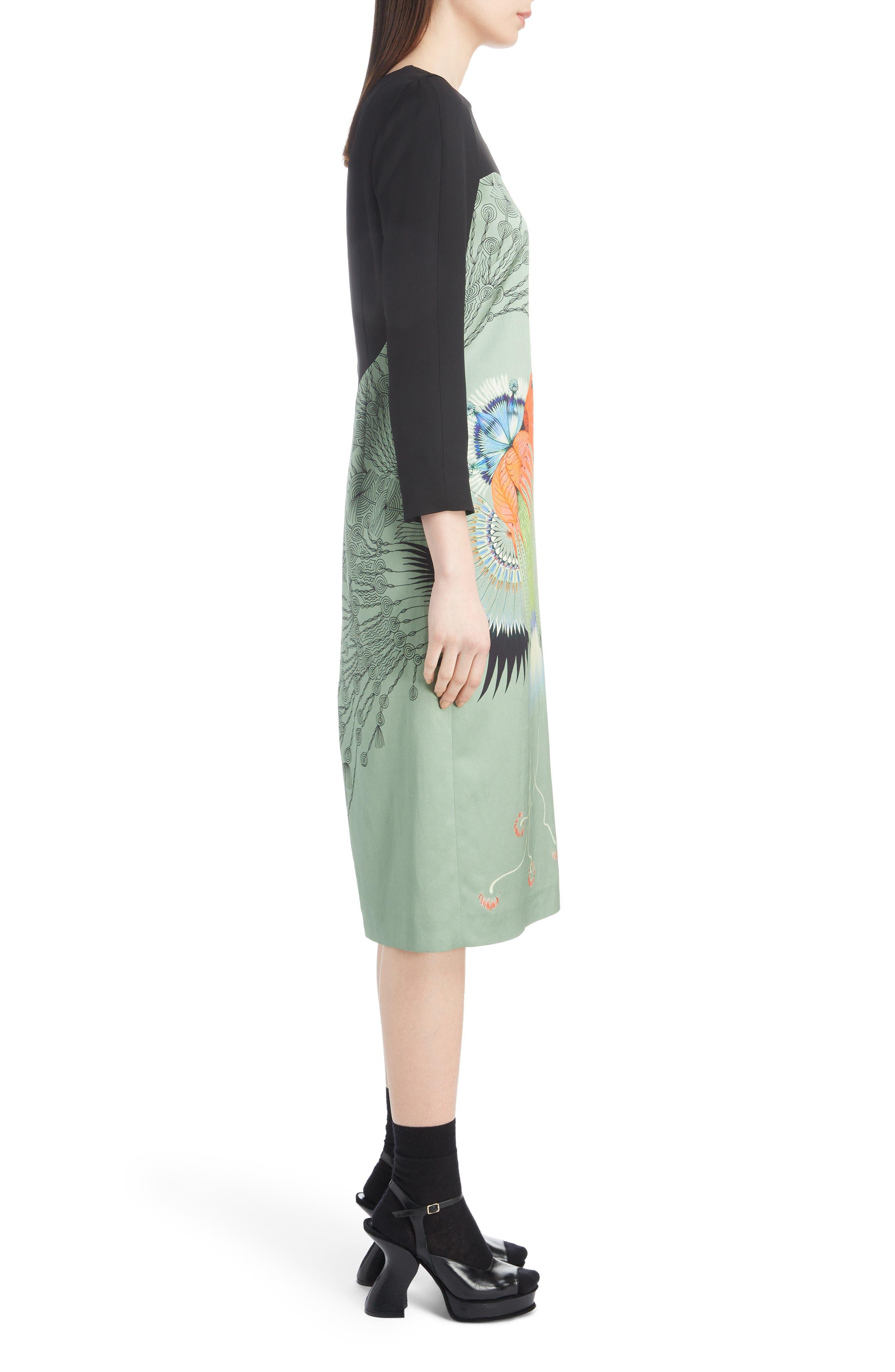 Placed Floral Print Dress,                             Alternate thumbnail 3, color,                             440