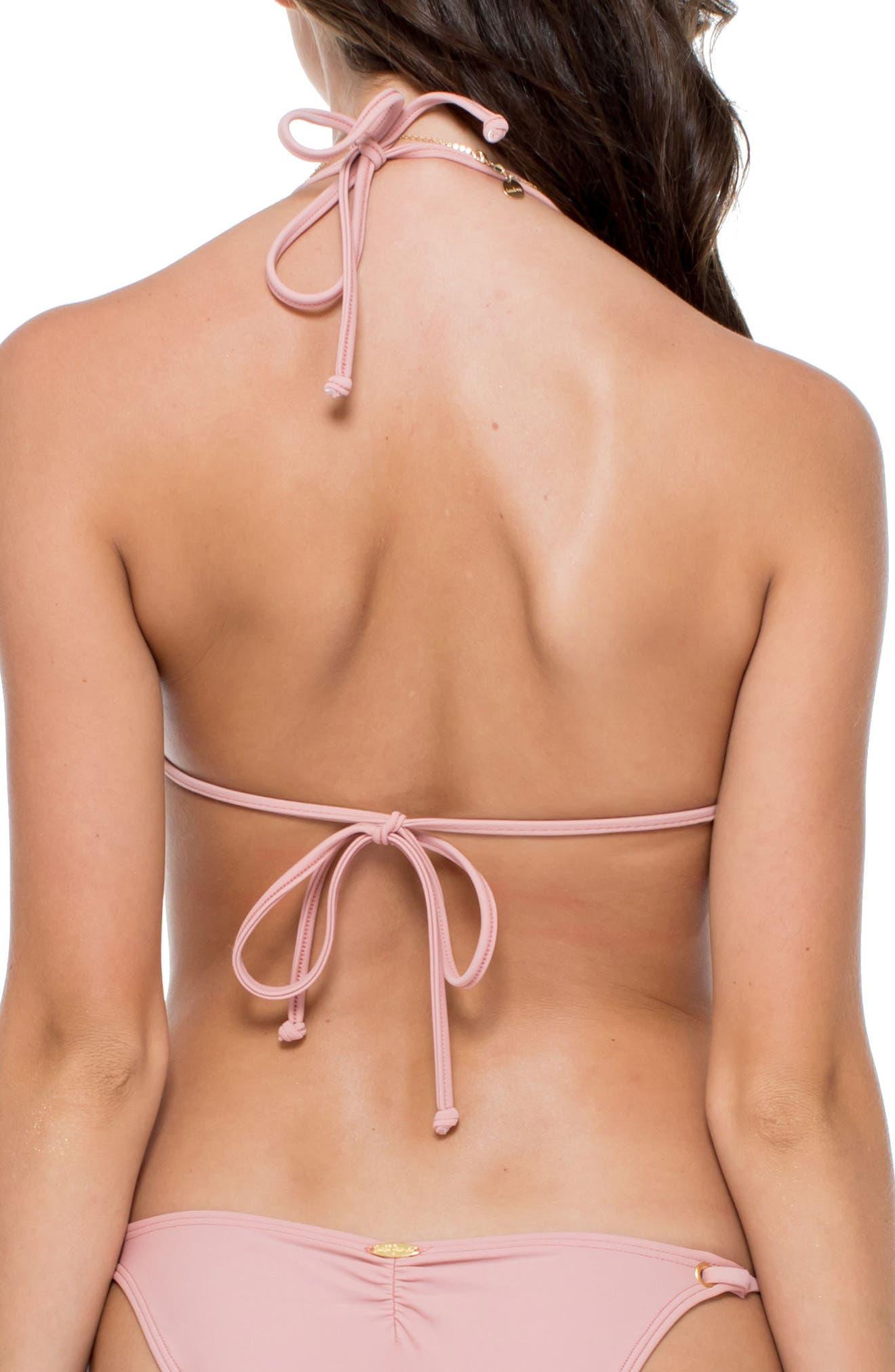 Lace-up Grommet Push-Up Bikini Top,                             Alternate thumbnail 2, color,