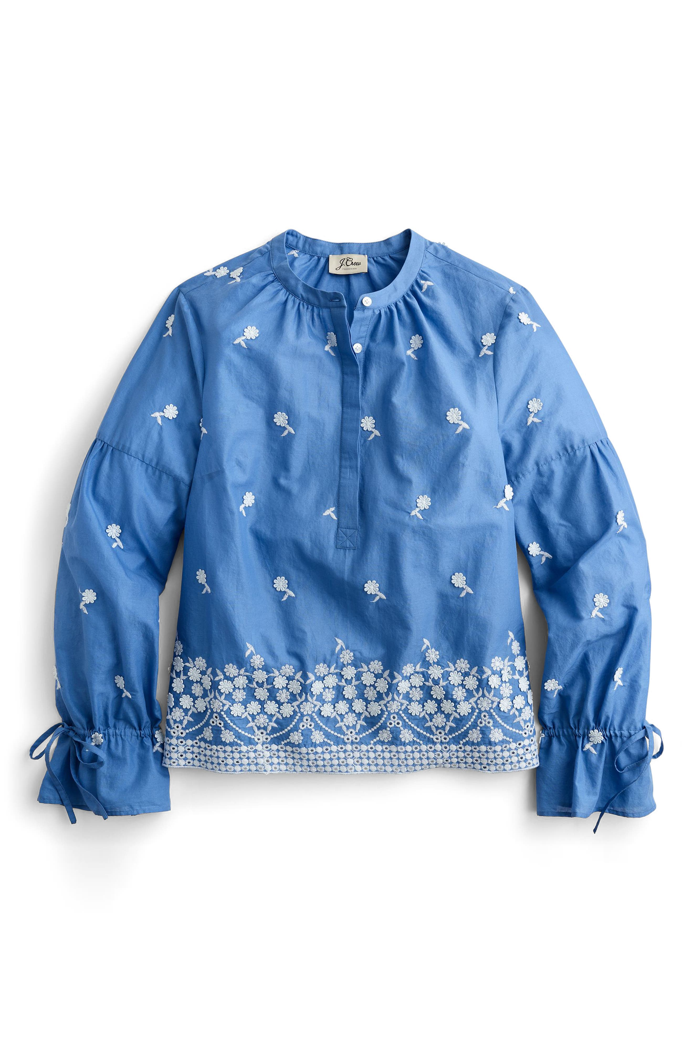 Floral Embroidered Popover Blouse,                             Main thumbnail 2, color,