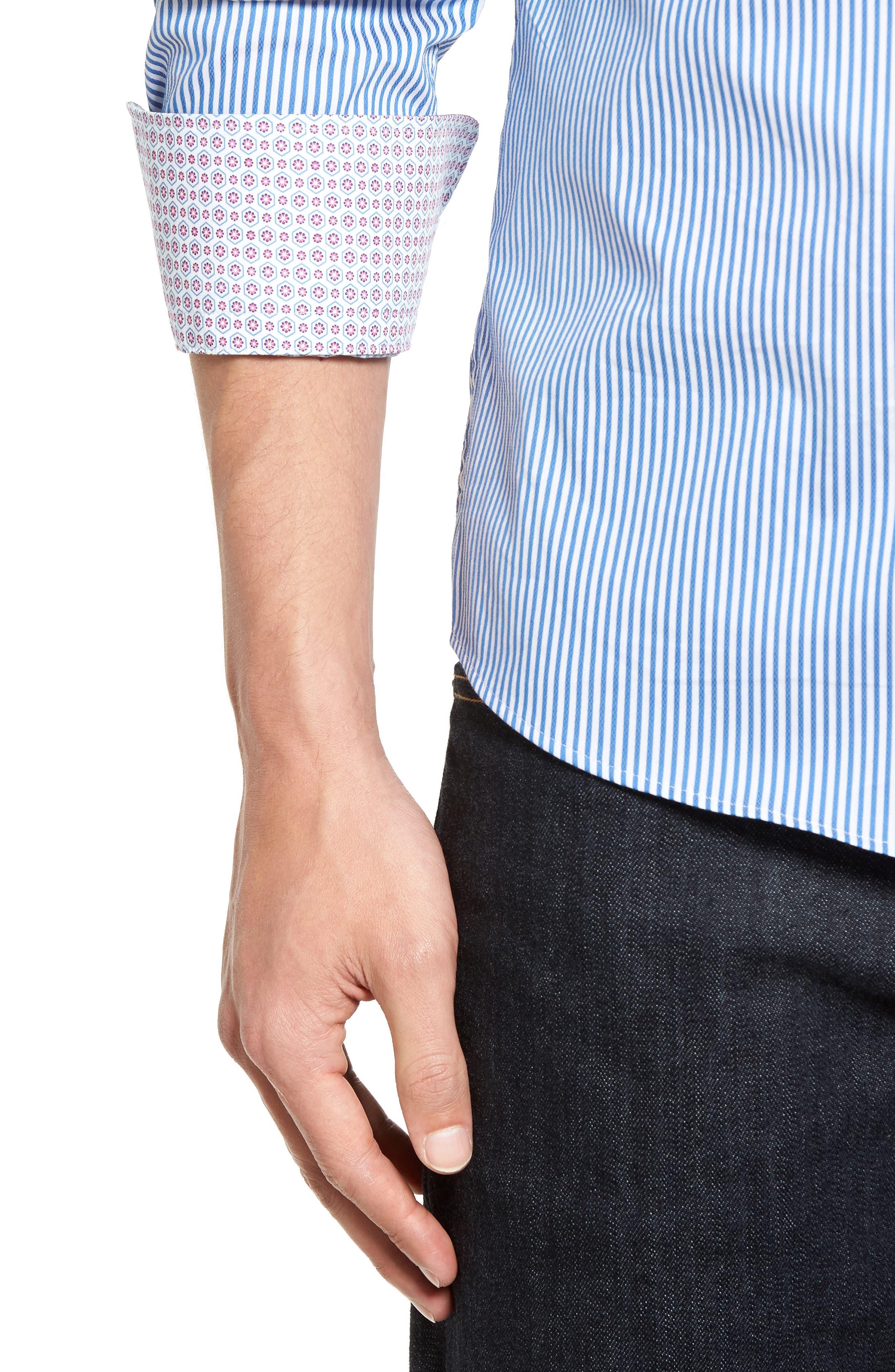 Technical Stripe Sport Shirt,                             Alternate thumbnail 4, color,                             402