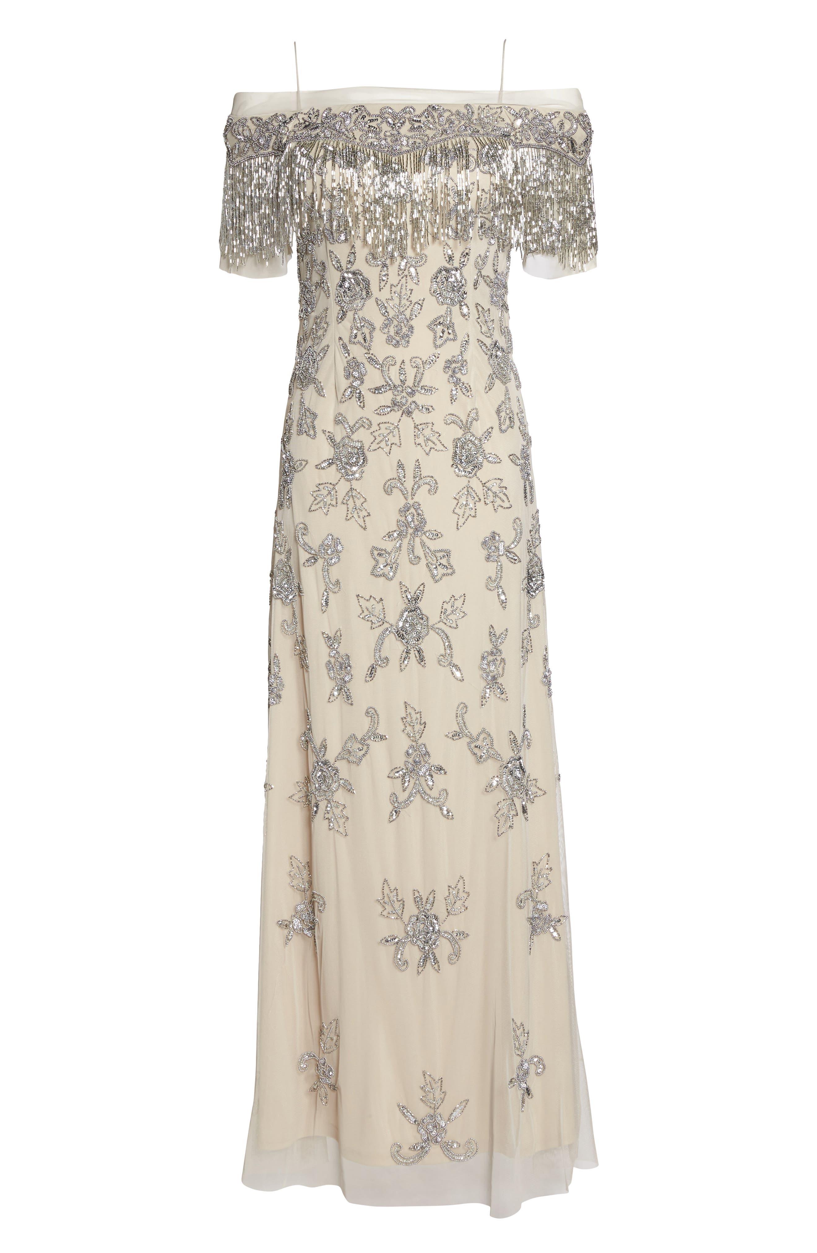 Fringe Bead Cold Shoulder Gown,                             Alternate thumbnail 6, color,