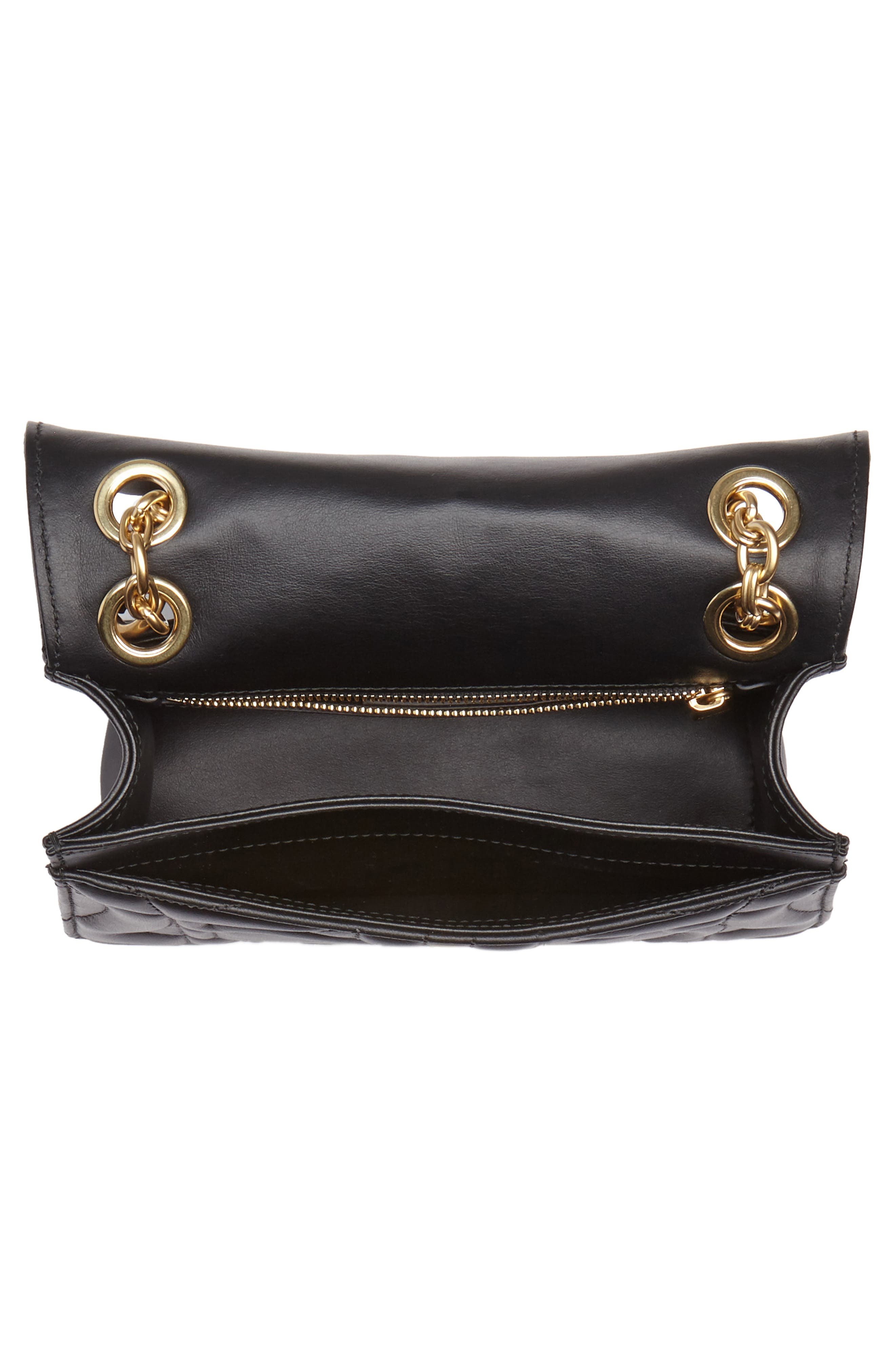 Quilted Gancio Leather Shoulder Bag,                             Alternate thumbnail 4, color,                             NERO