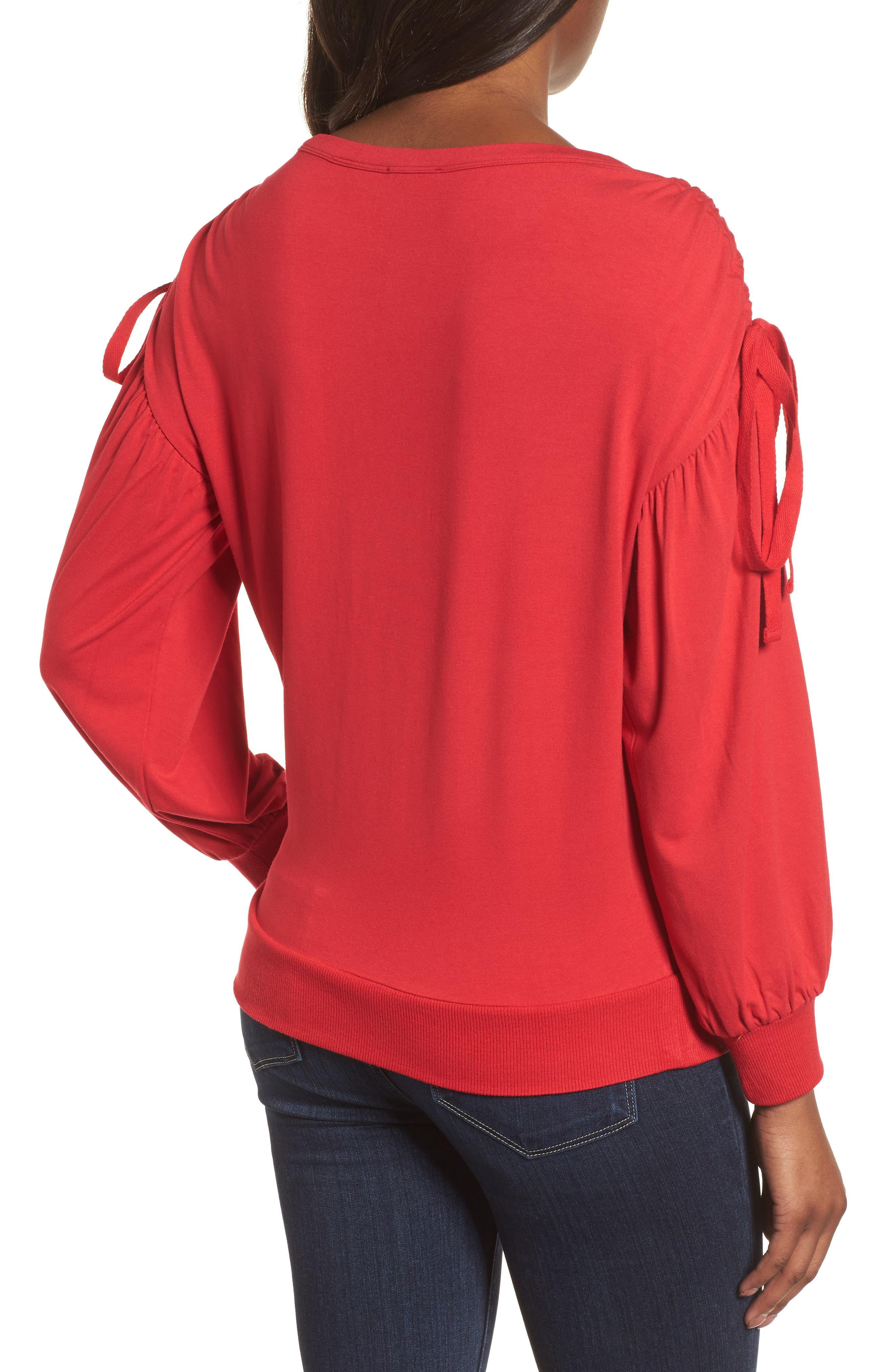 Ruched Bow Sleeve Top,                             Alternate thumbnail 8, color,