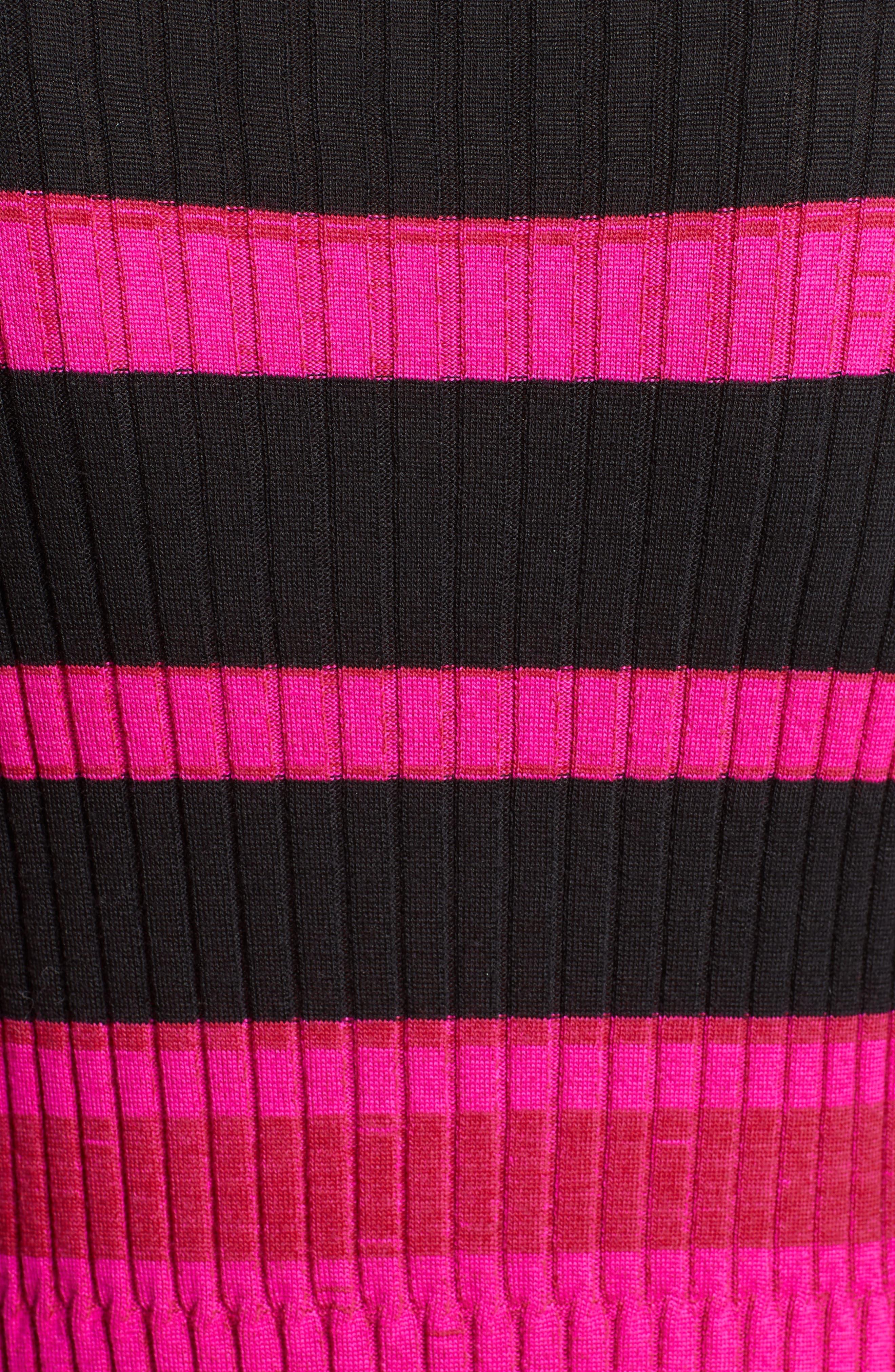Stripe Cashmere, Wool & Silk Midi Dress,                             Alternate thumbnail 5, color,                             650