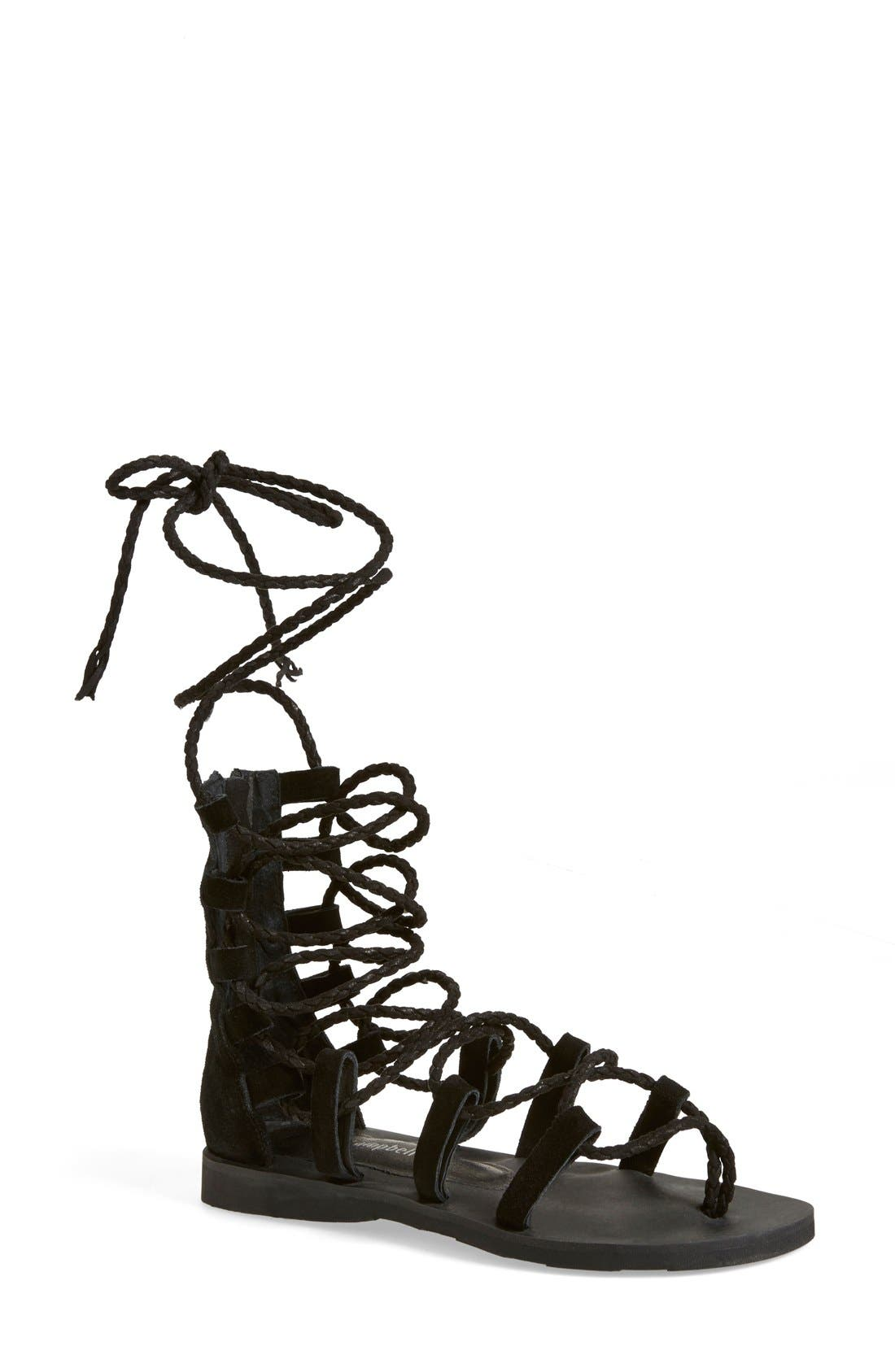'Hola' Lace-Up Gladiator Sandal,                             Main thumbnail 1, color,                             001
