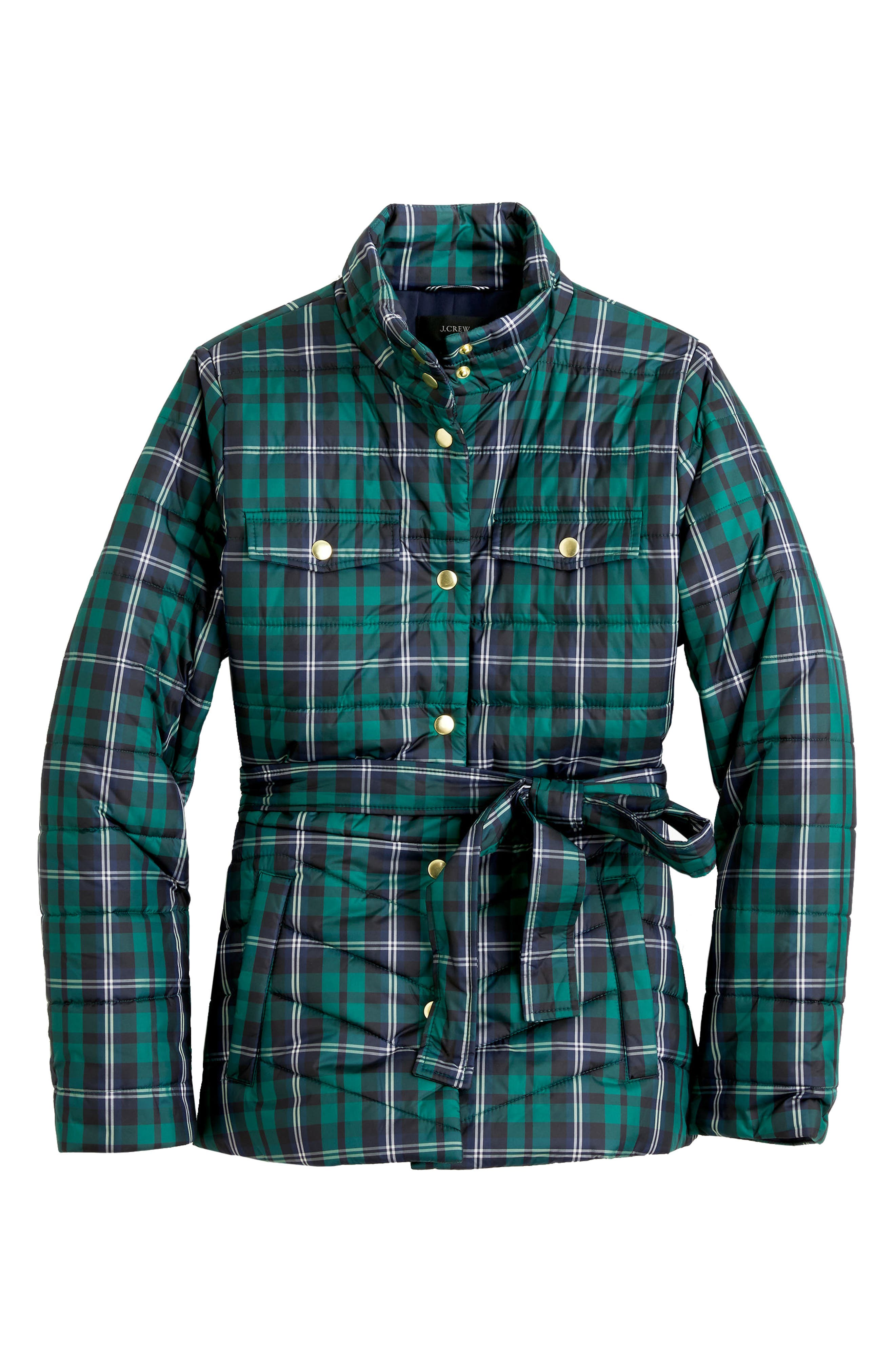 Plaid Belted Puffer Jacket,                             Alternate thumbnail 3, color,