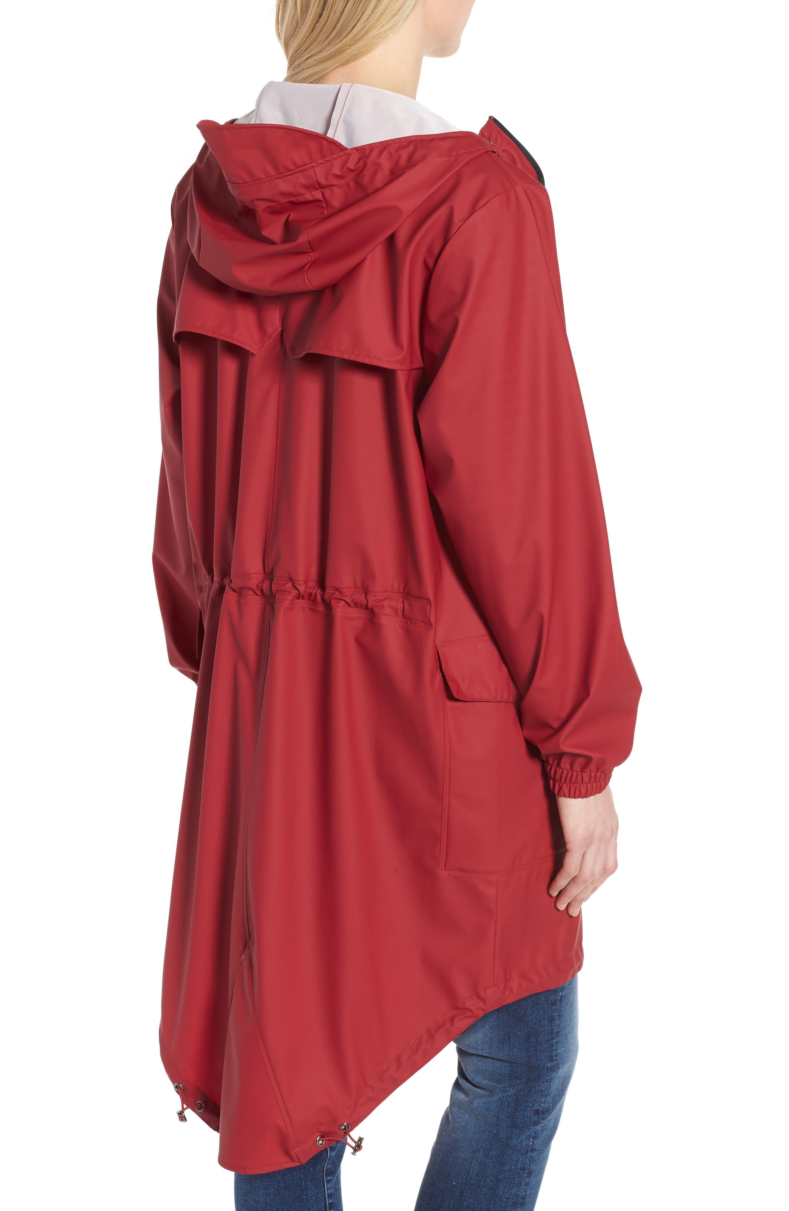 Hooded Rain Topper Jacket,                             Alternate thumbnail 2, color,                             RED