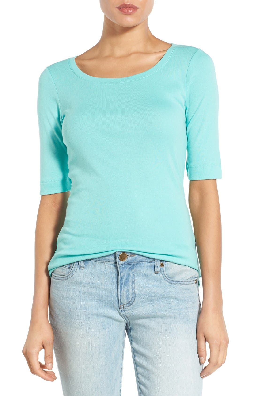 Ballet Neck Cotton & Modal Knit Elbow Sleeve Tee,                             Main thumbnail 28, color,