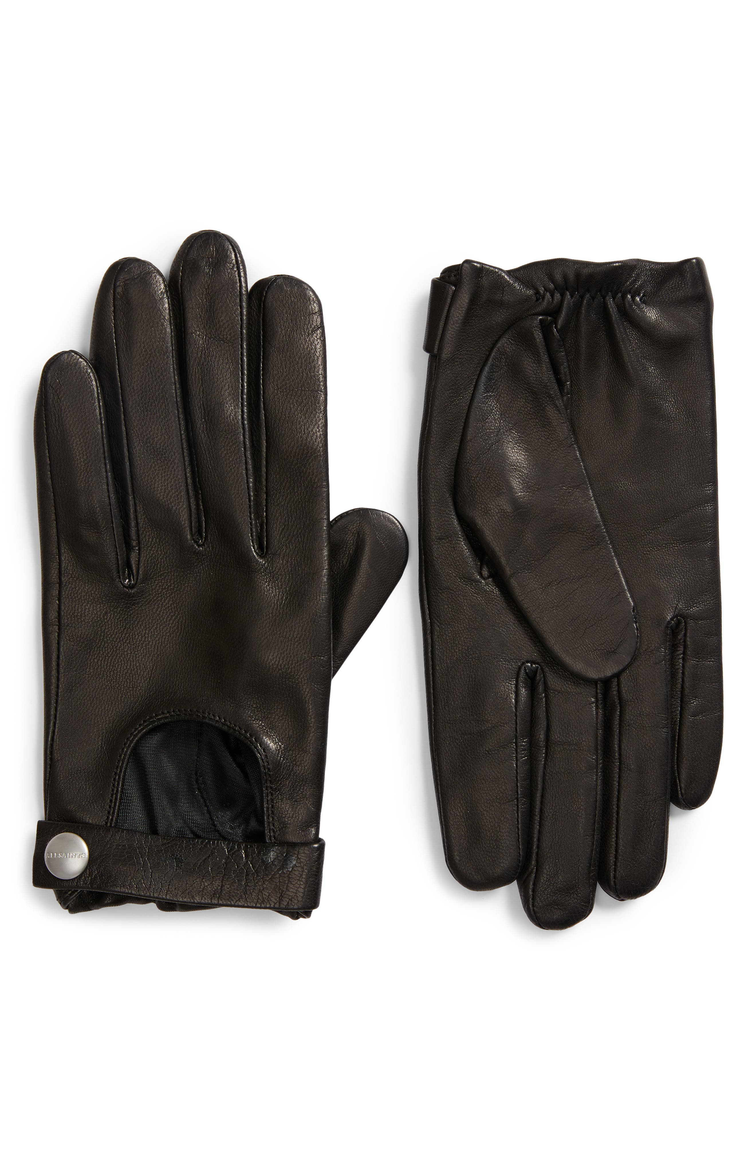 Allsaints Leather Driving Gloves, Black