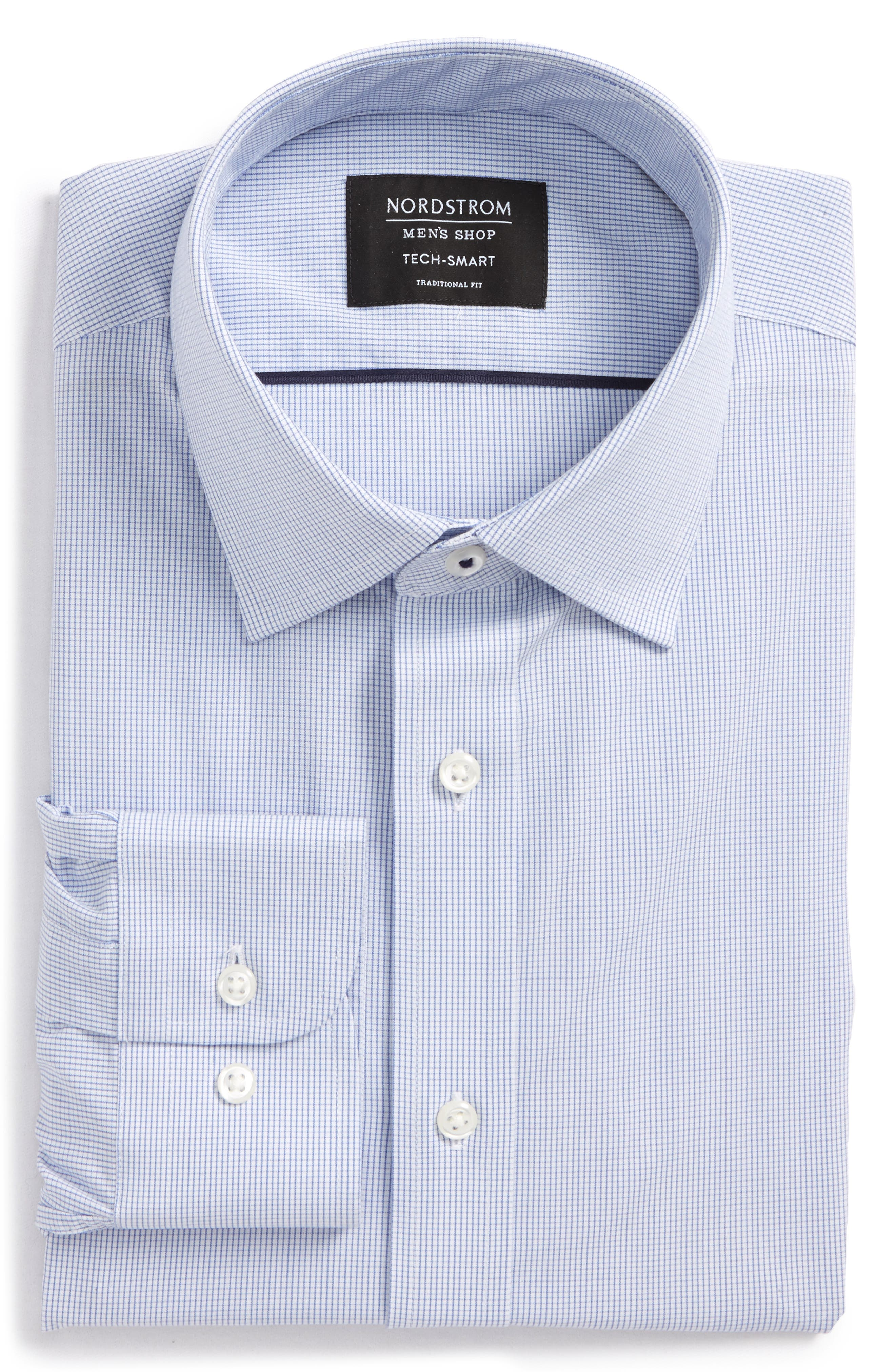 Tech-Smart Traditional Fit Stretch Check Dress Shirt,                             Alternate thumbnail 3, color,                             420