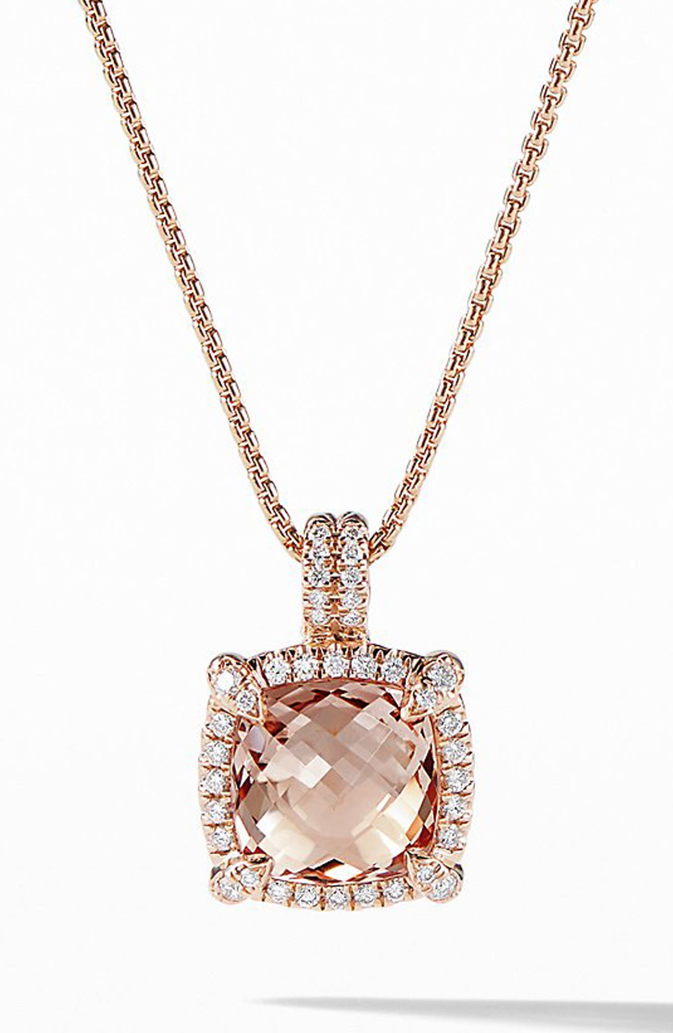 Châtelaine Pavé Bezel Pendant Necklace with Morganite and Diamonds in 18K Rose Gold,                         Main,                         color, ROSE GOLD/ DIAMOND/ MORGANITE