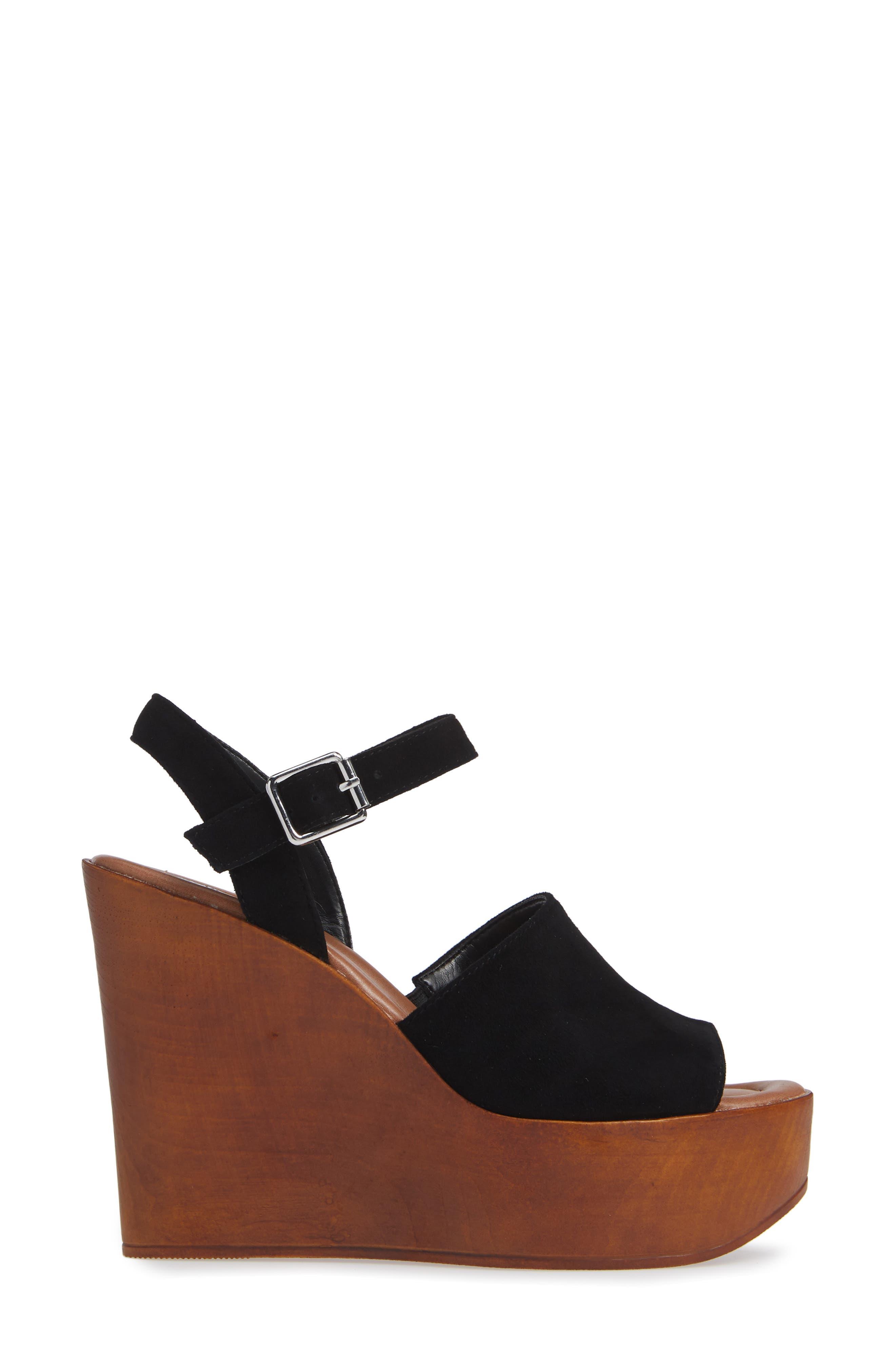 Bellini Wedge Sandal,                             Alternate thumbnail 3, color,                             BLACK SUEDE