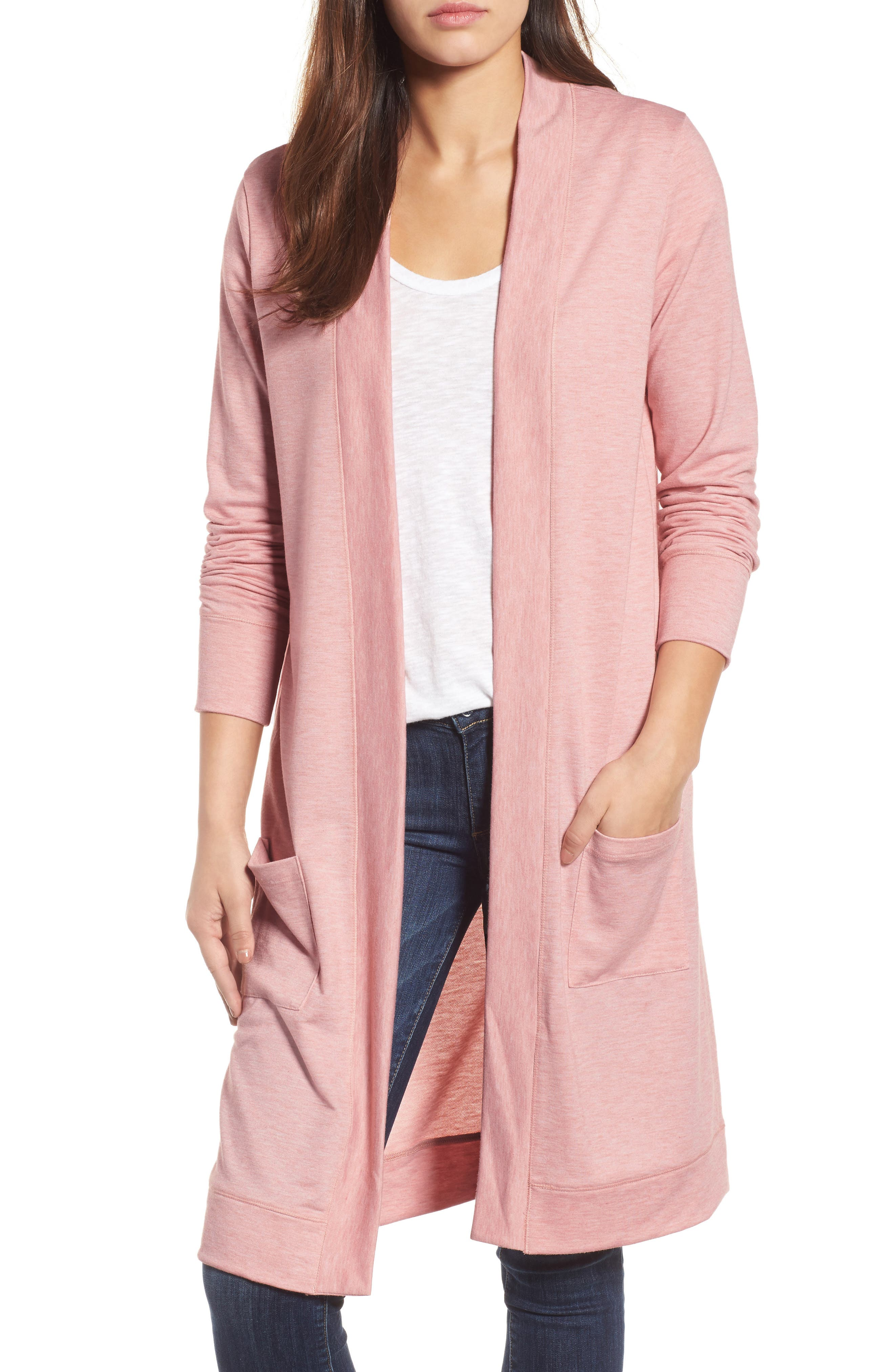 Long French Terry Cardigan,                             Main thumbnail 5, color,
