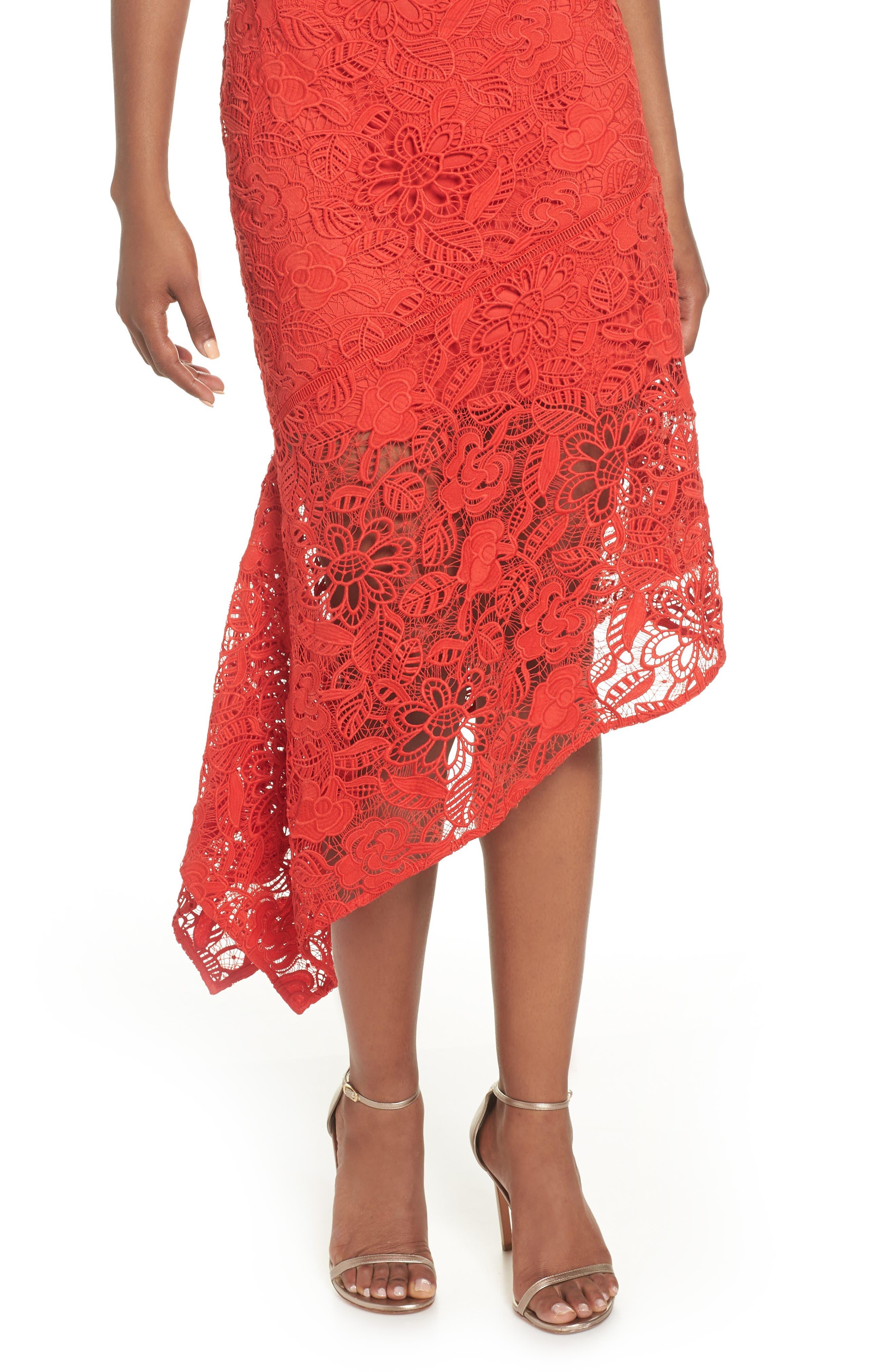 Asymmetrical Hem Lace Dress,                             Alternate thumbnail 4, color,                             600