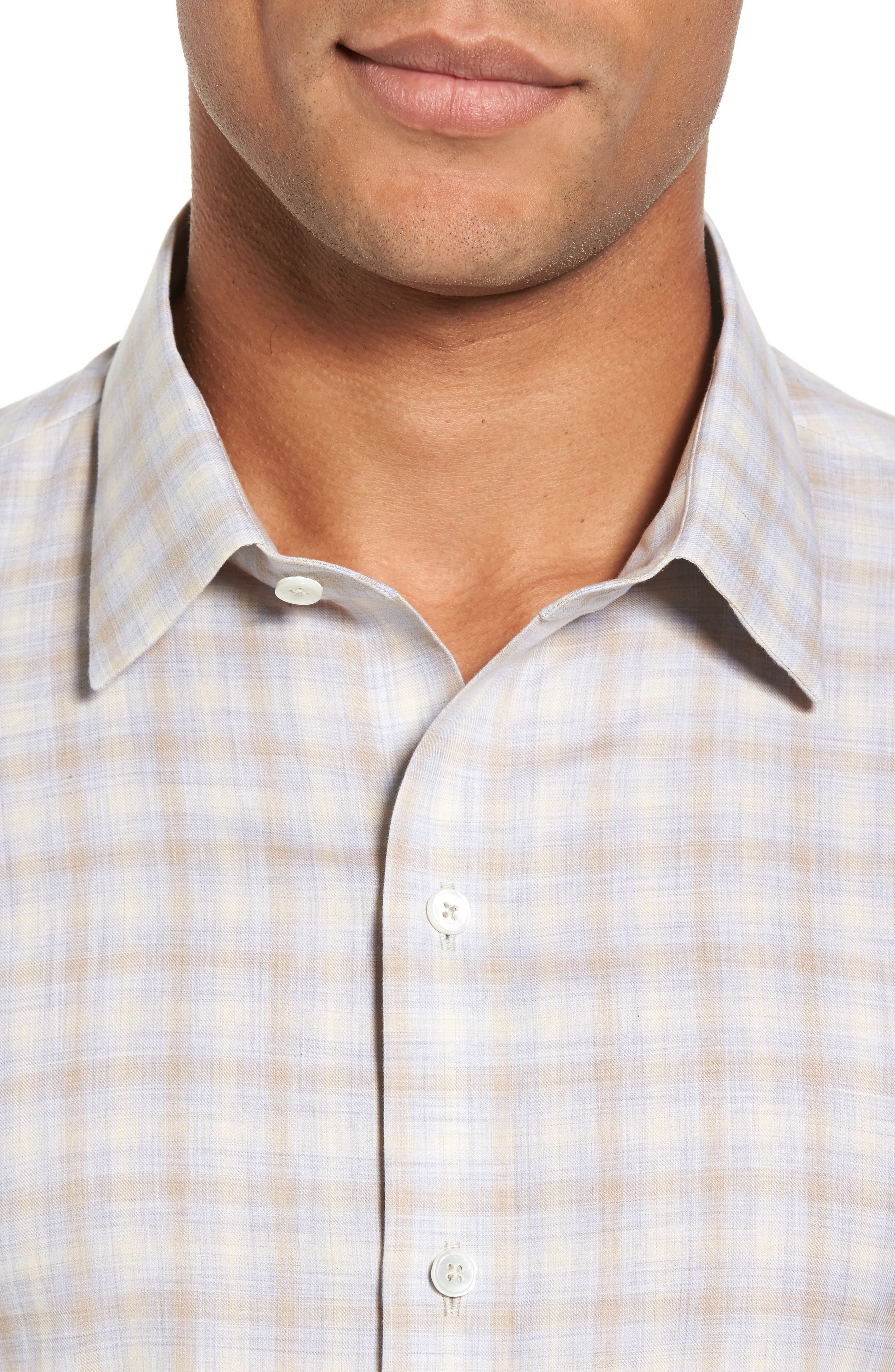 Lowles Slim Fit Plaid Sport Shirt,                             Alternate thumbnail 4, color,