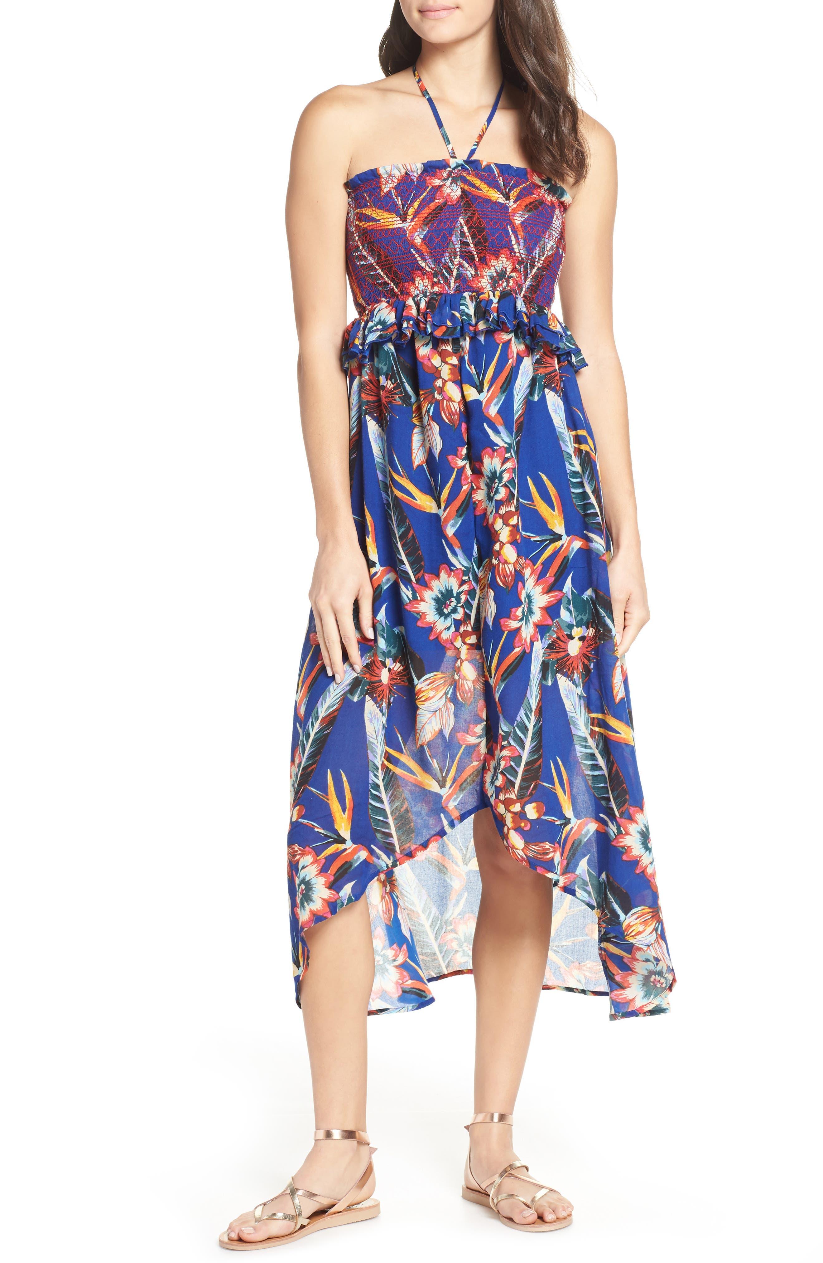 RED CARTER Smocked Palm Print Halter Dress
