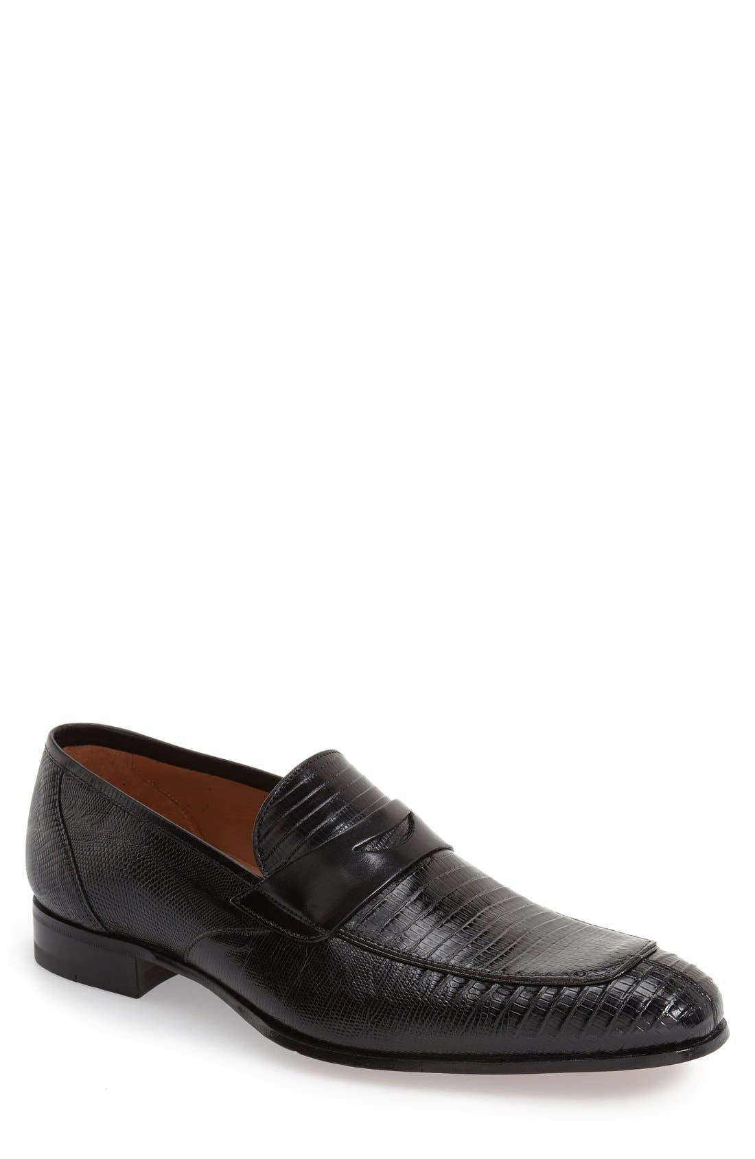 'Lipari' Lizard Leather Penny Loafer,                         Main,                         color, BLACK