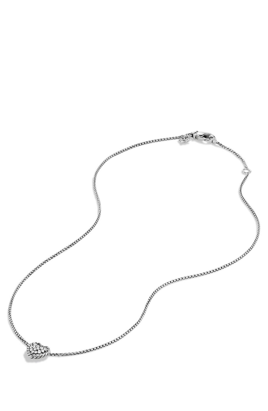 'Châtelaine' Heart Pendant Necklace with Diamonds,                             Alternate thumbnail 4, color,                             DIAMOND