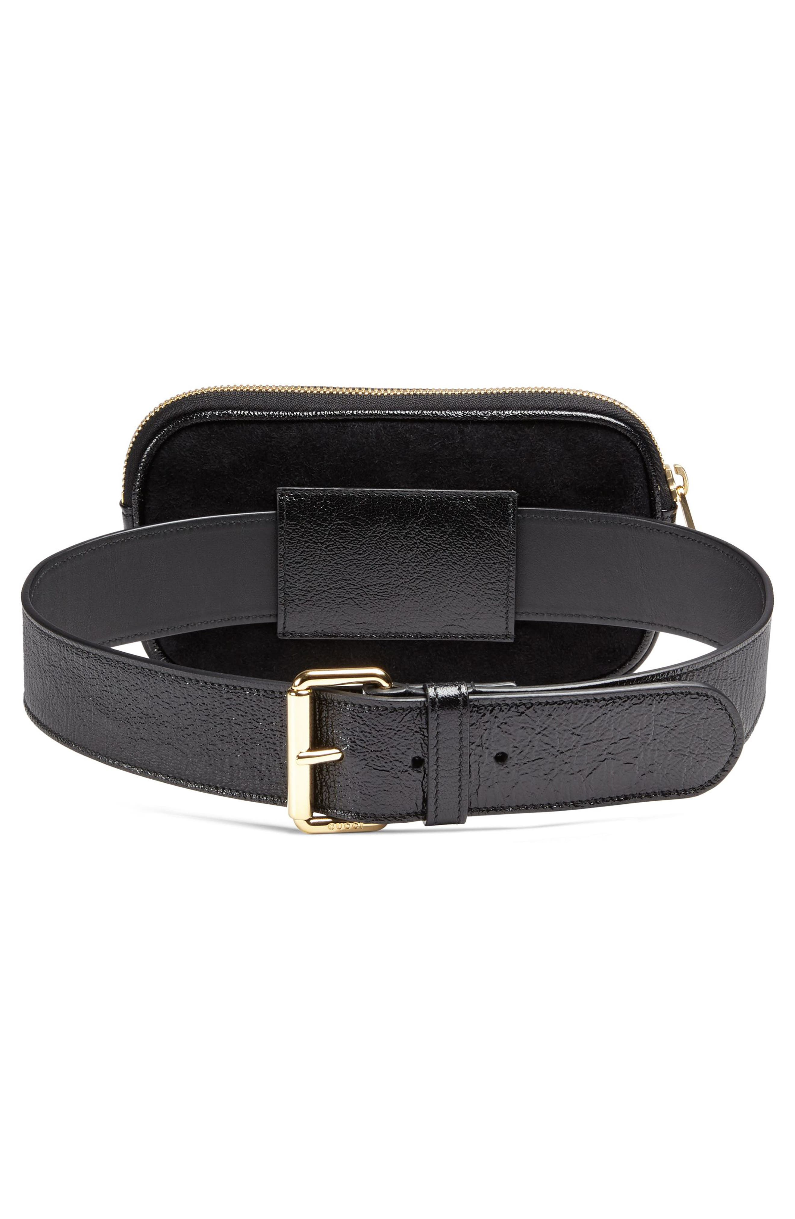 Ophidia Suede & Leather Belt Bag,                             Alternate thumbnail 2, color,                             NERO/ VERT/ RED