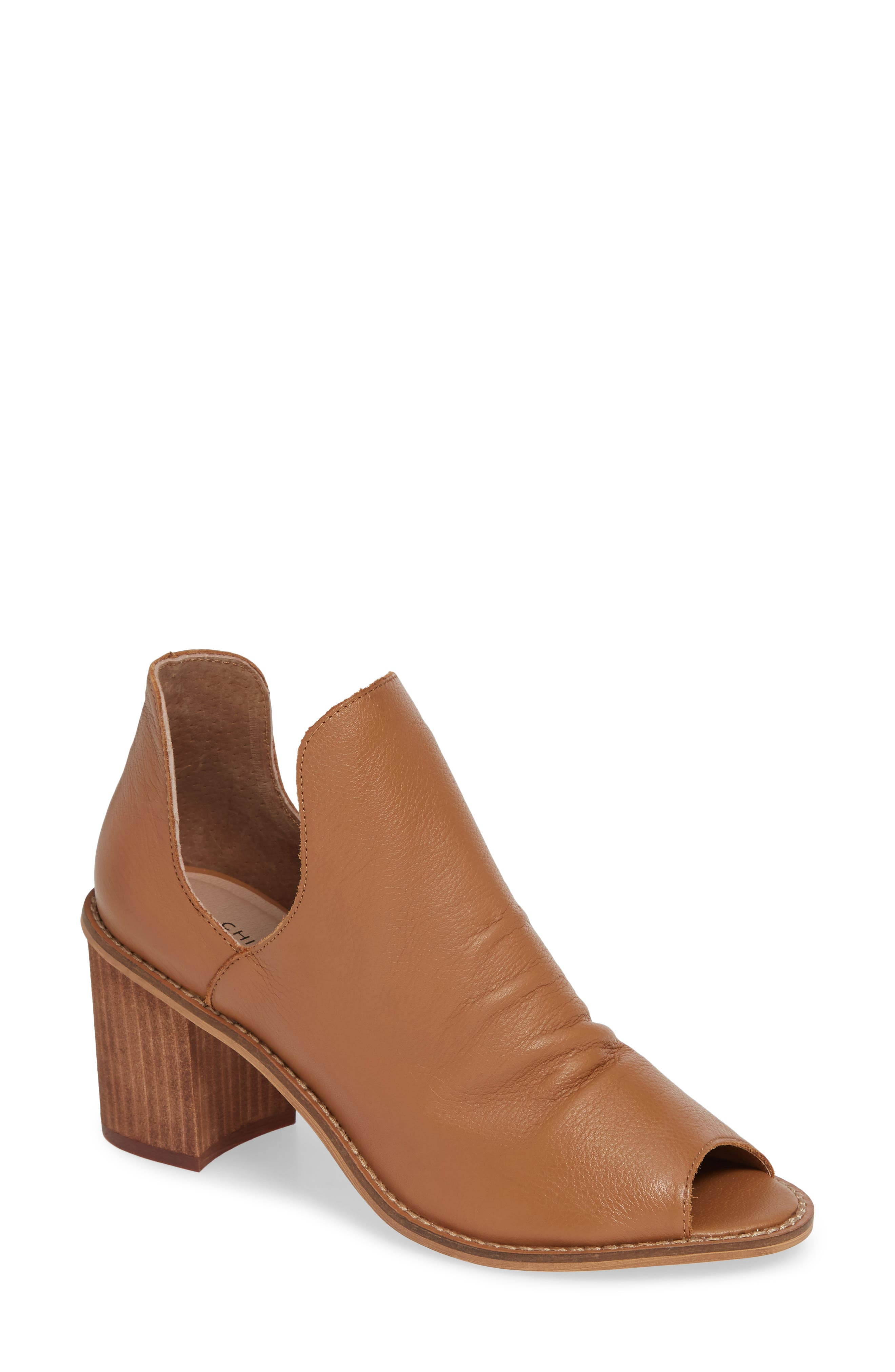 Chinese Laundry Carlita Peep Toe Bootie, Brown