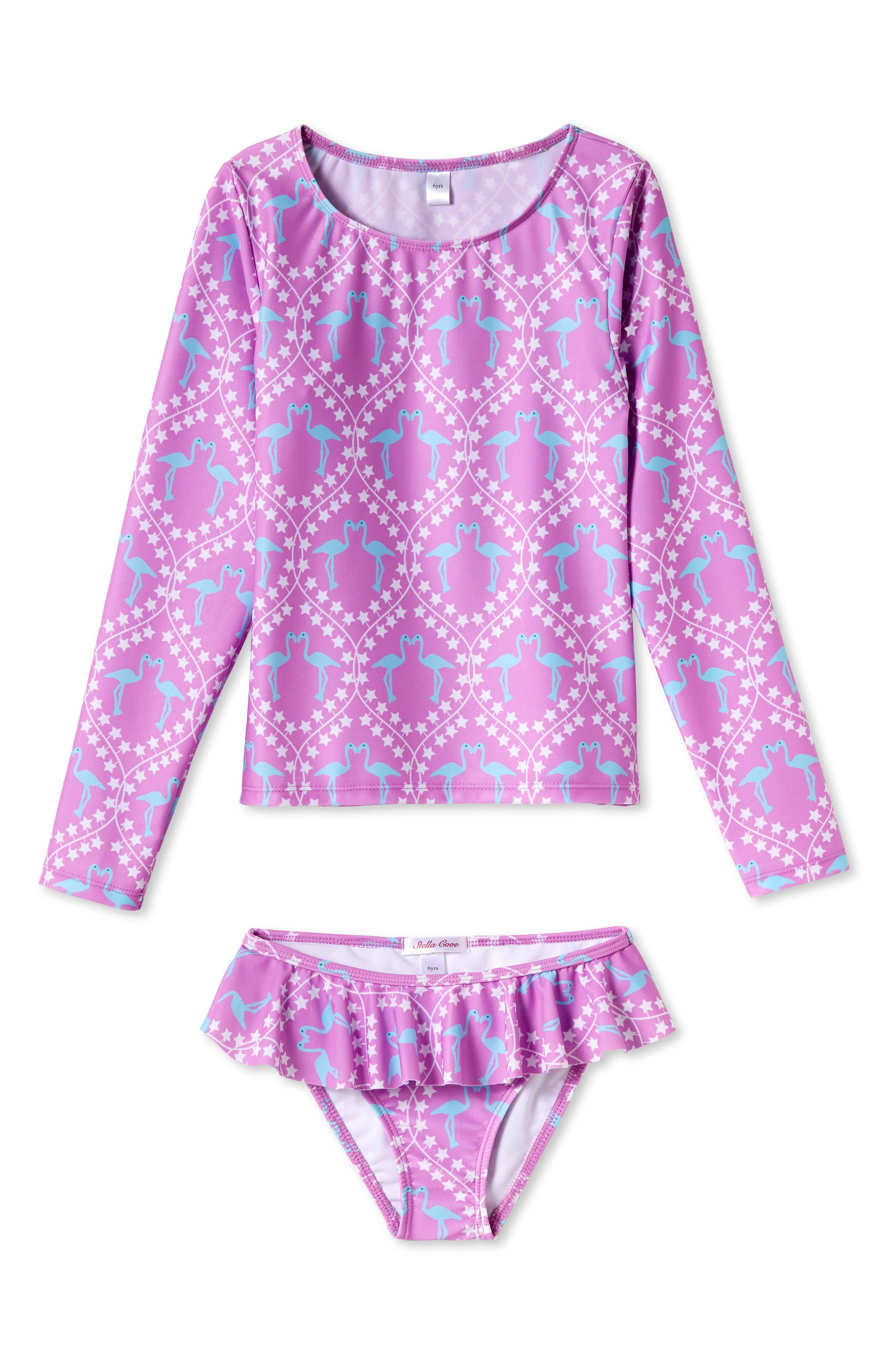 Flamingo Print Two-Piece Rashguard Swimsuit,                         Main,                         color, PINK