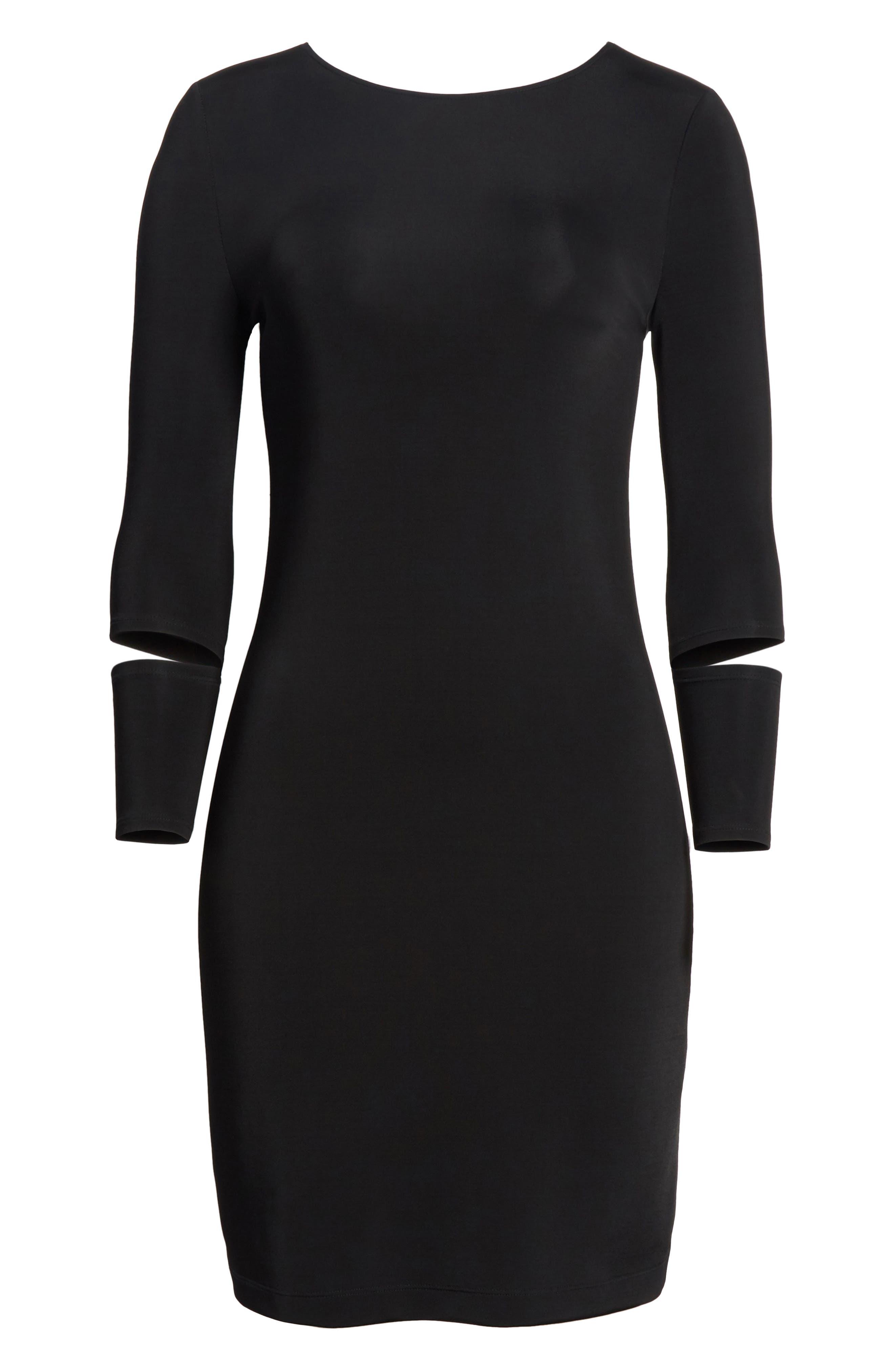 Detached Cuff Bondage Jersey Dress,                             Alternate thumbnail 7, color,                             001