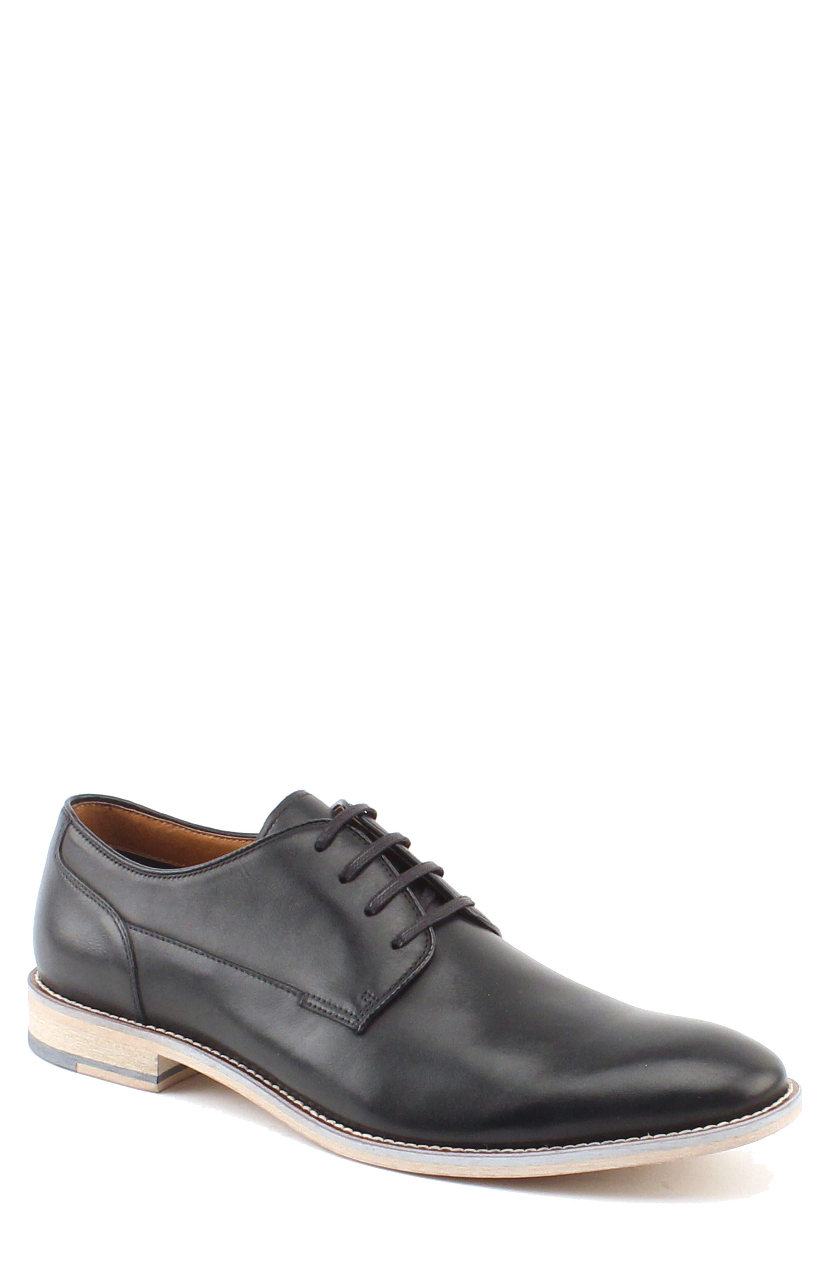 RUSH BY GORDON RUSH Kieren Plain Toe Derby, Main, color, BLACK LEATHER