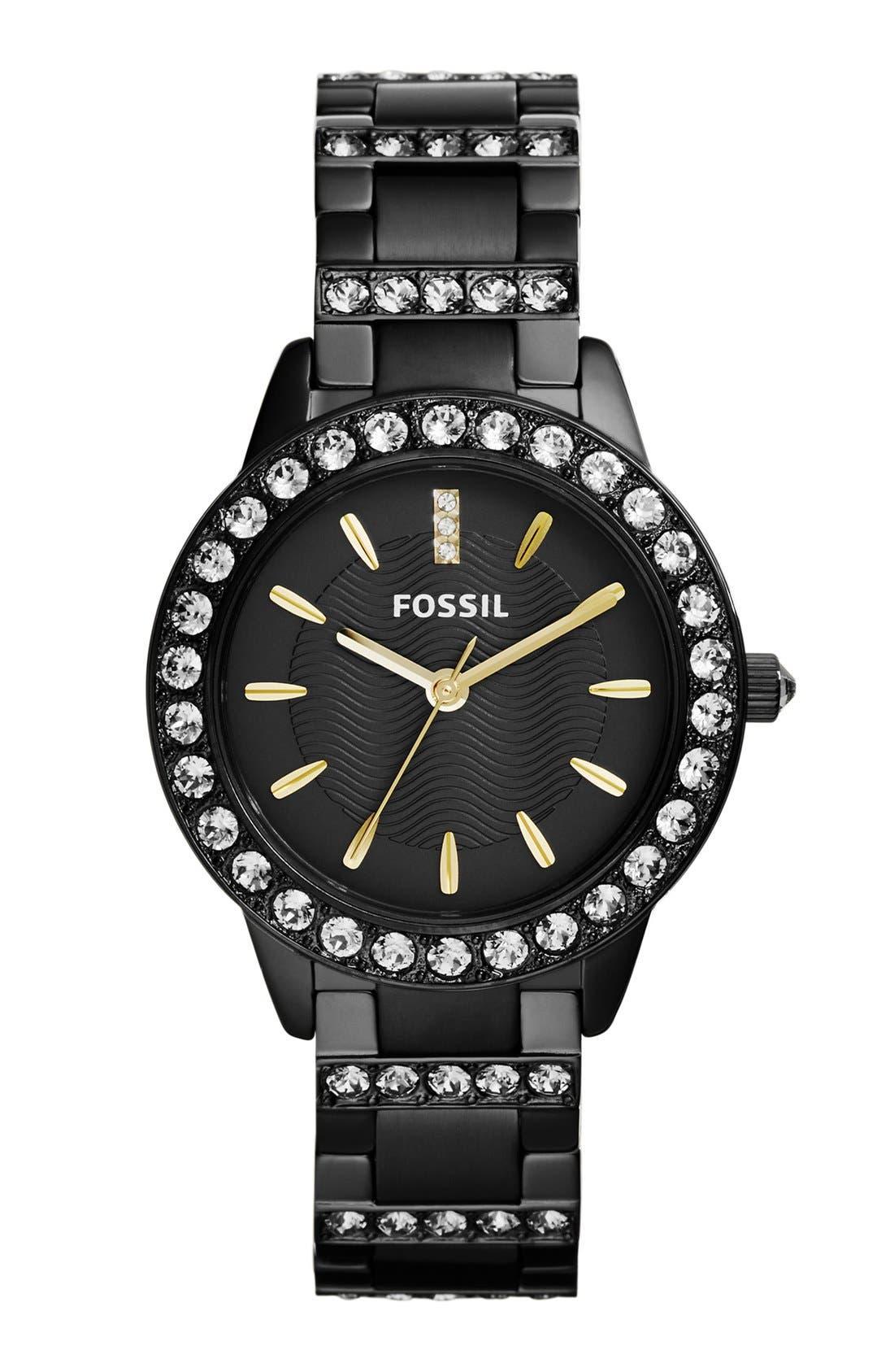 FOSSIL 'Jesse' Crystal Embellished Bracelet Watch, 34mm, Main, color, 001