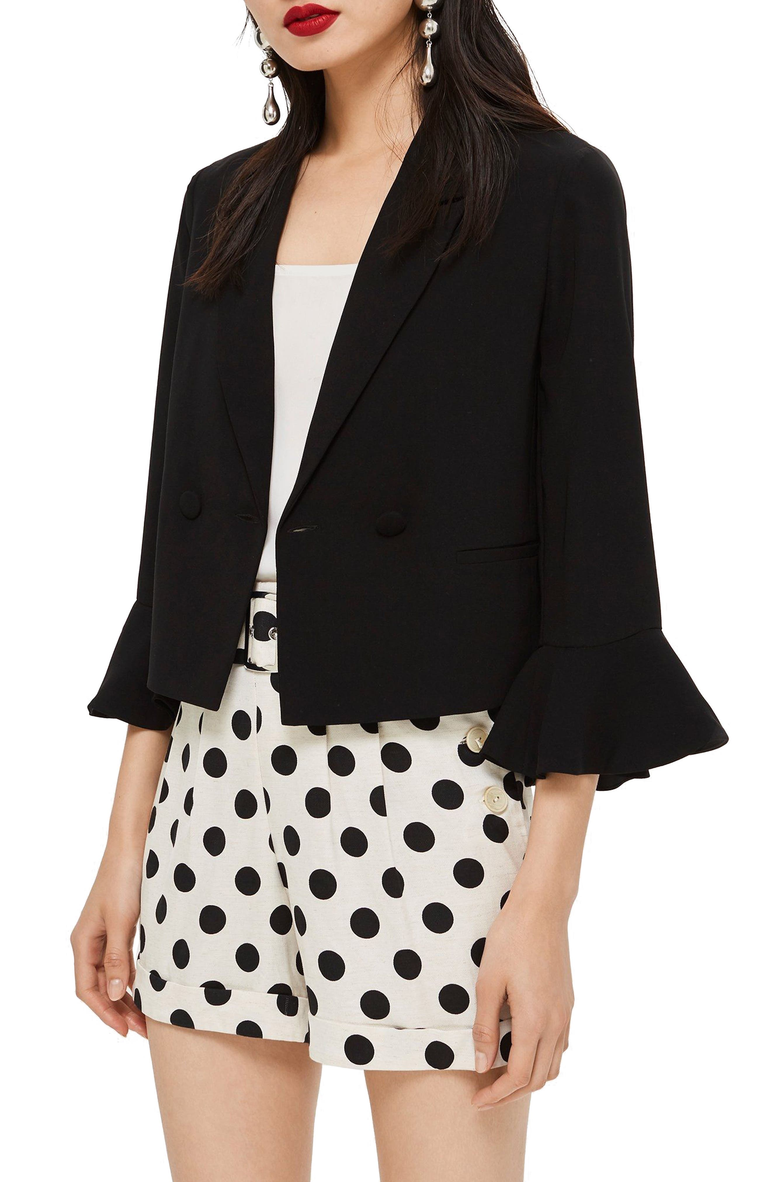 Frill Sleeve Double Breasted Jacket,                         Main,                         color, BLACK