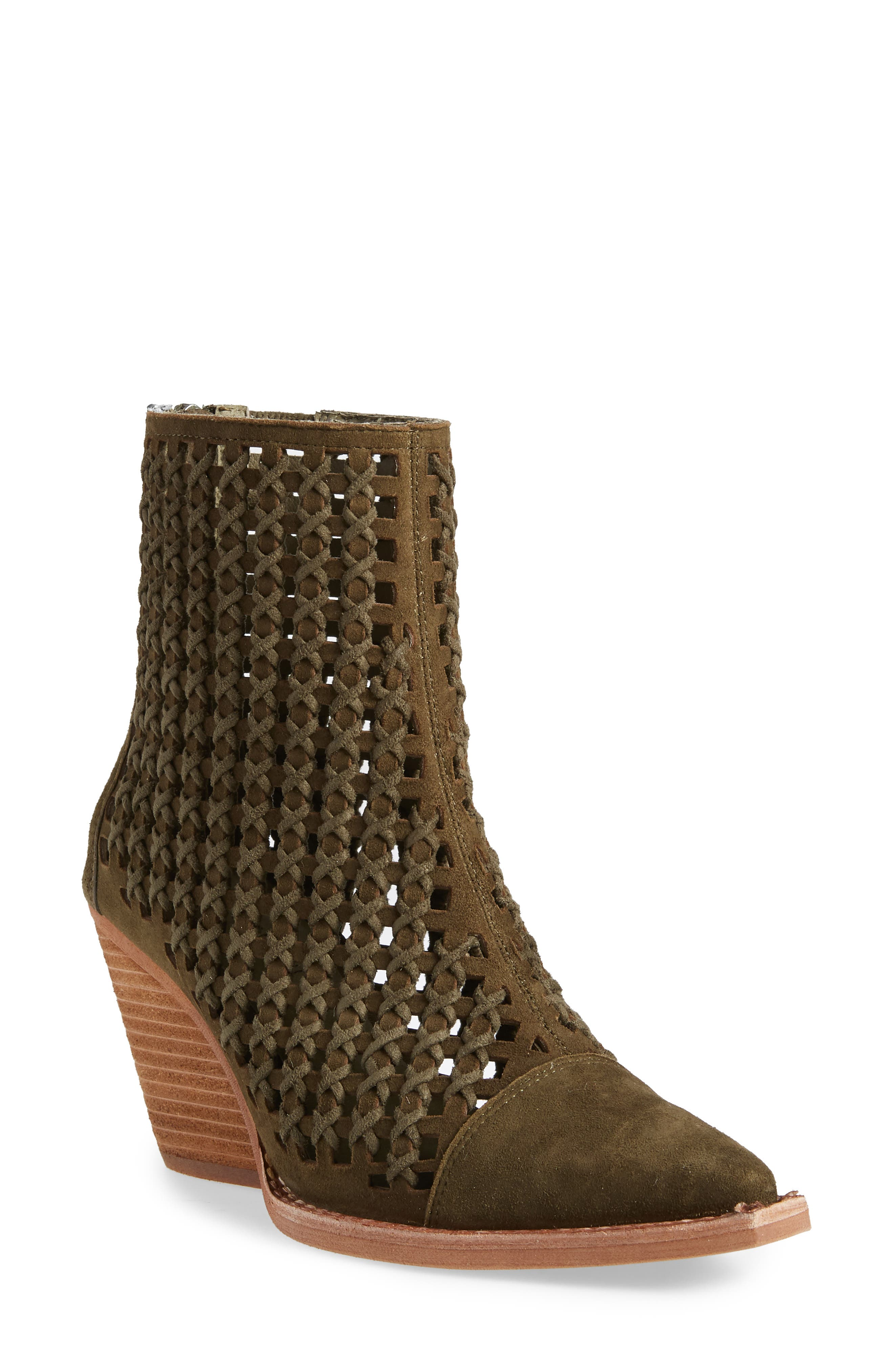 Oakwood Perforated Bootie,                         Main,                         color, KHAKI SUEDE