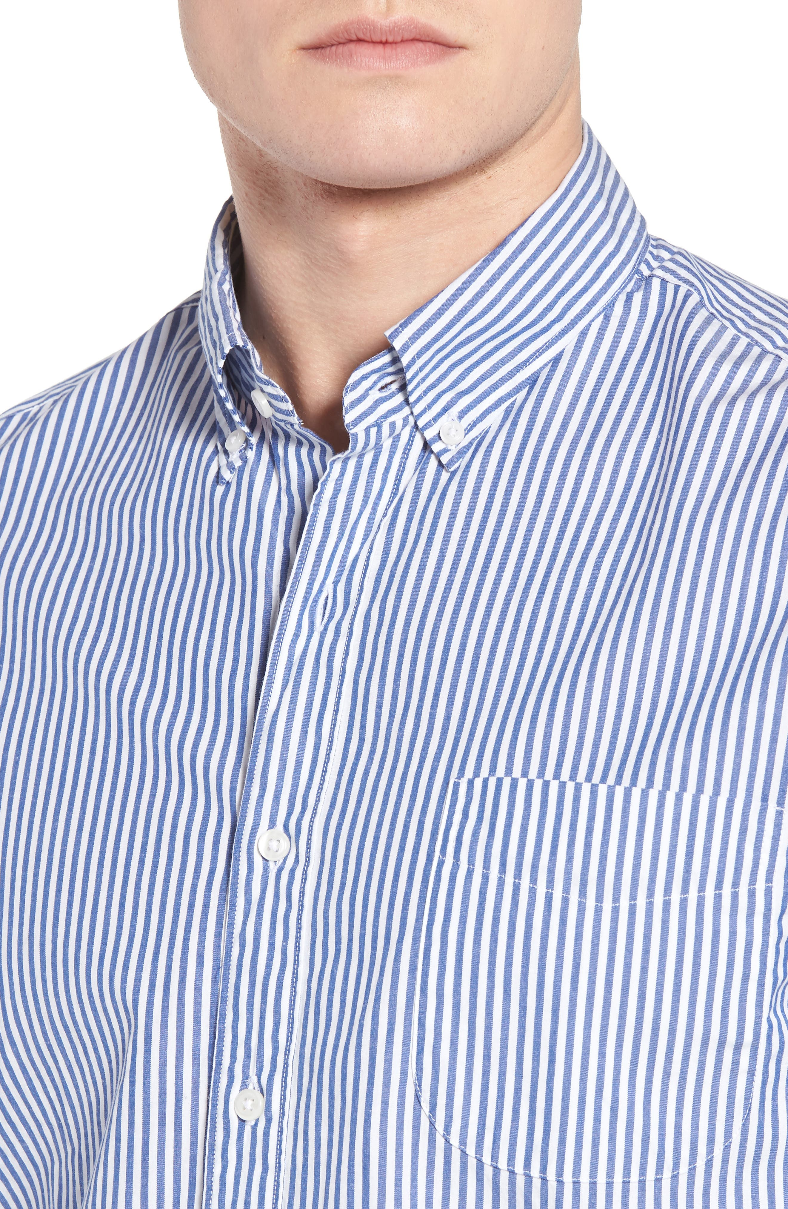 Classic Fit Stretch Secret Wash Stripe Sport Shirt,                             Alternate thumbnail 4, color,                             408